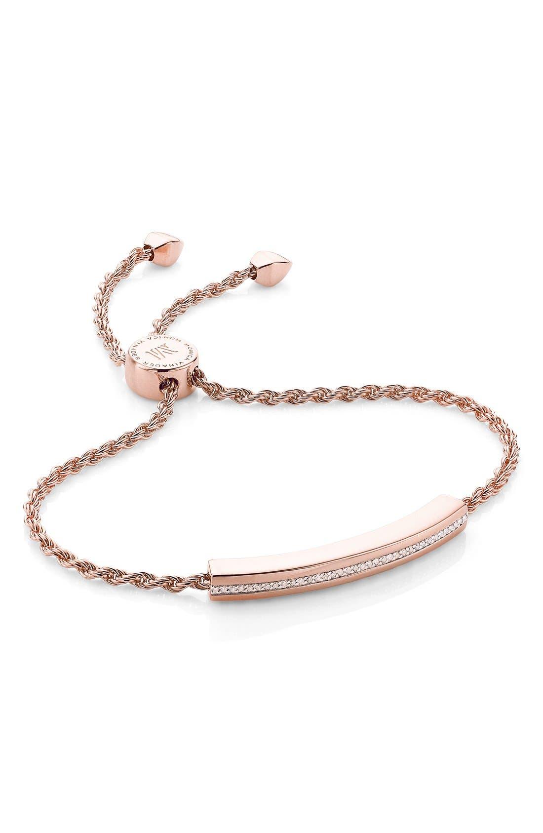 Monica Vinader Bracelets ENGRAVABLE LINEAR DIAMOND CHAIN BRACELET