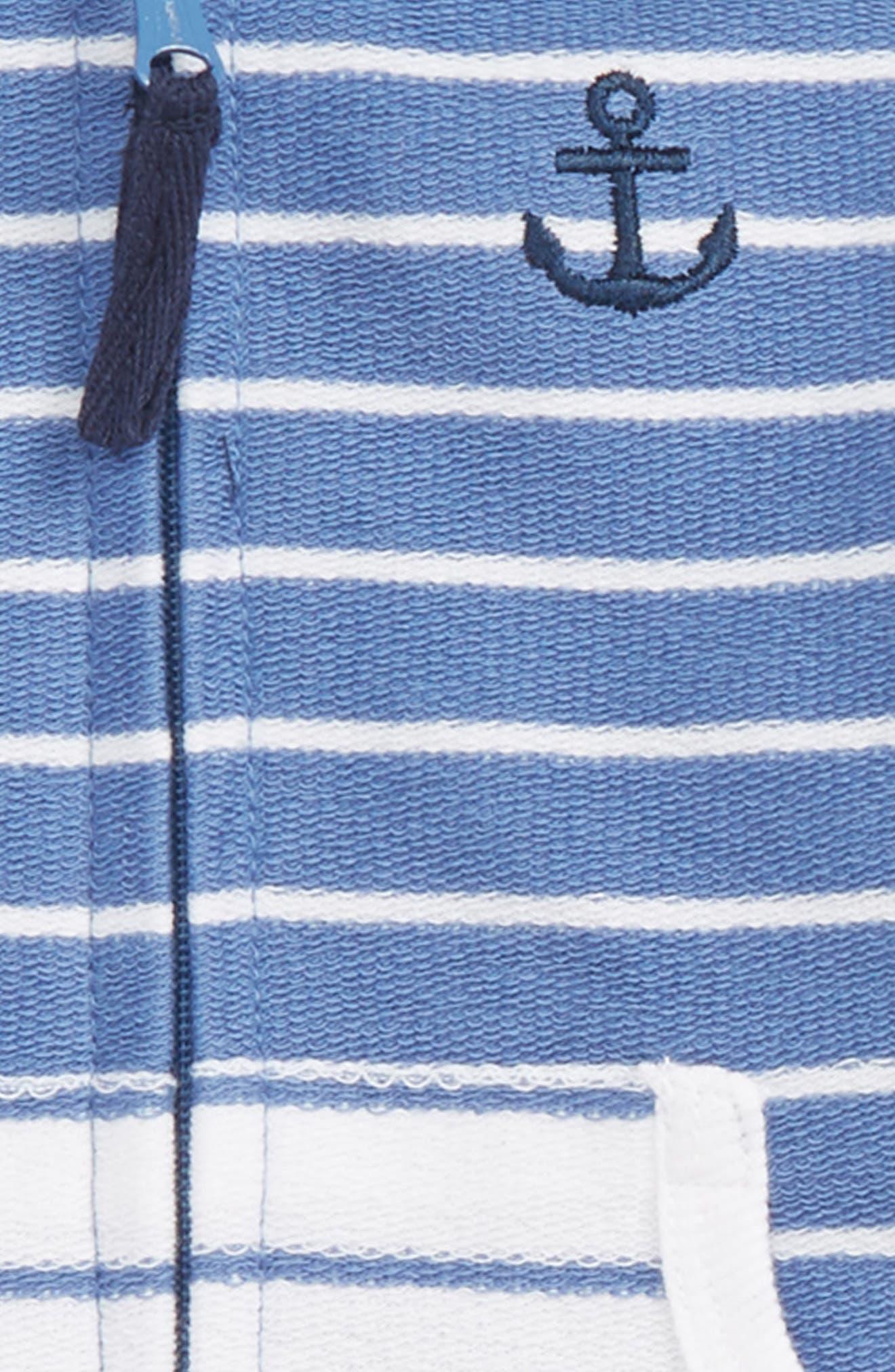 LITTLE ME,                             Stripe Jacket & Pants Set,                             Alternate thumbnail 2, color,                             BLUE