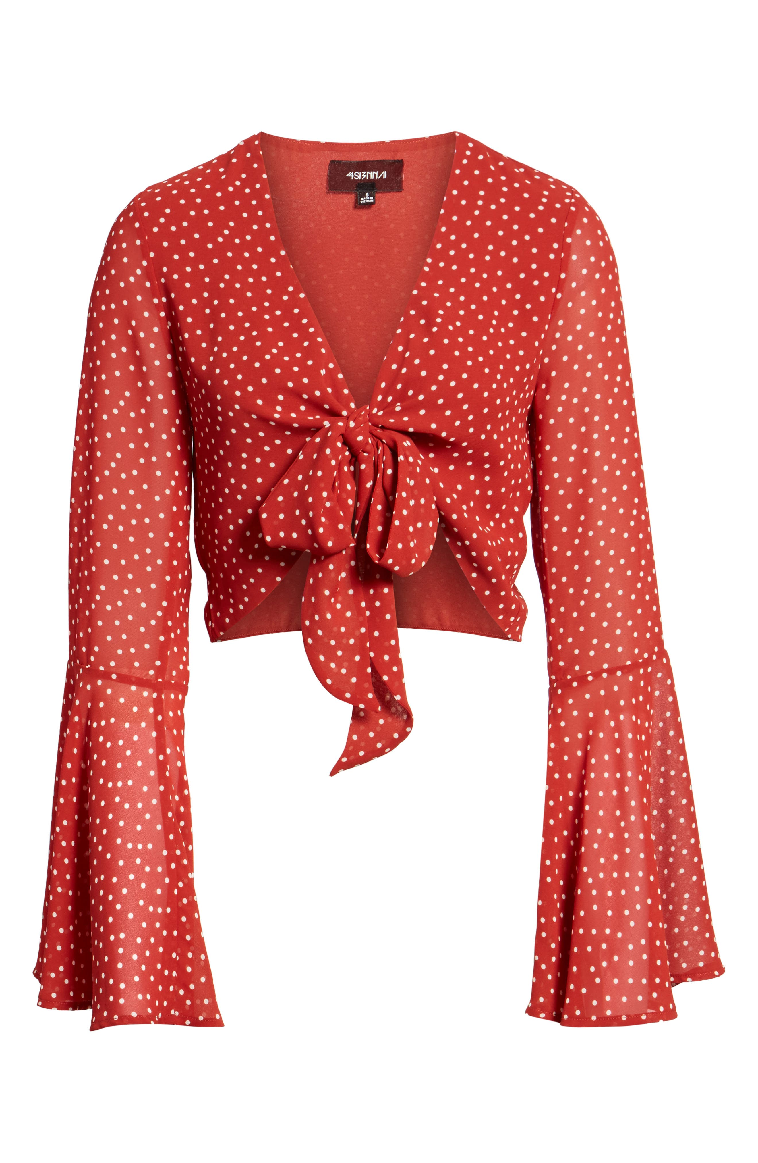 Tie Front Bell Sleeve Top,                             Alternate thumbnail 6, color,                             600