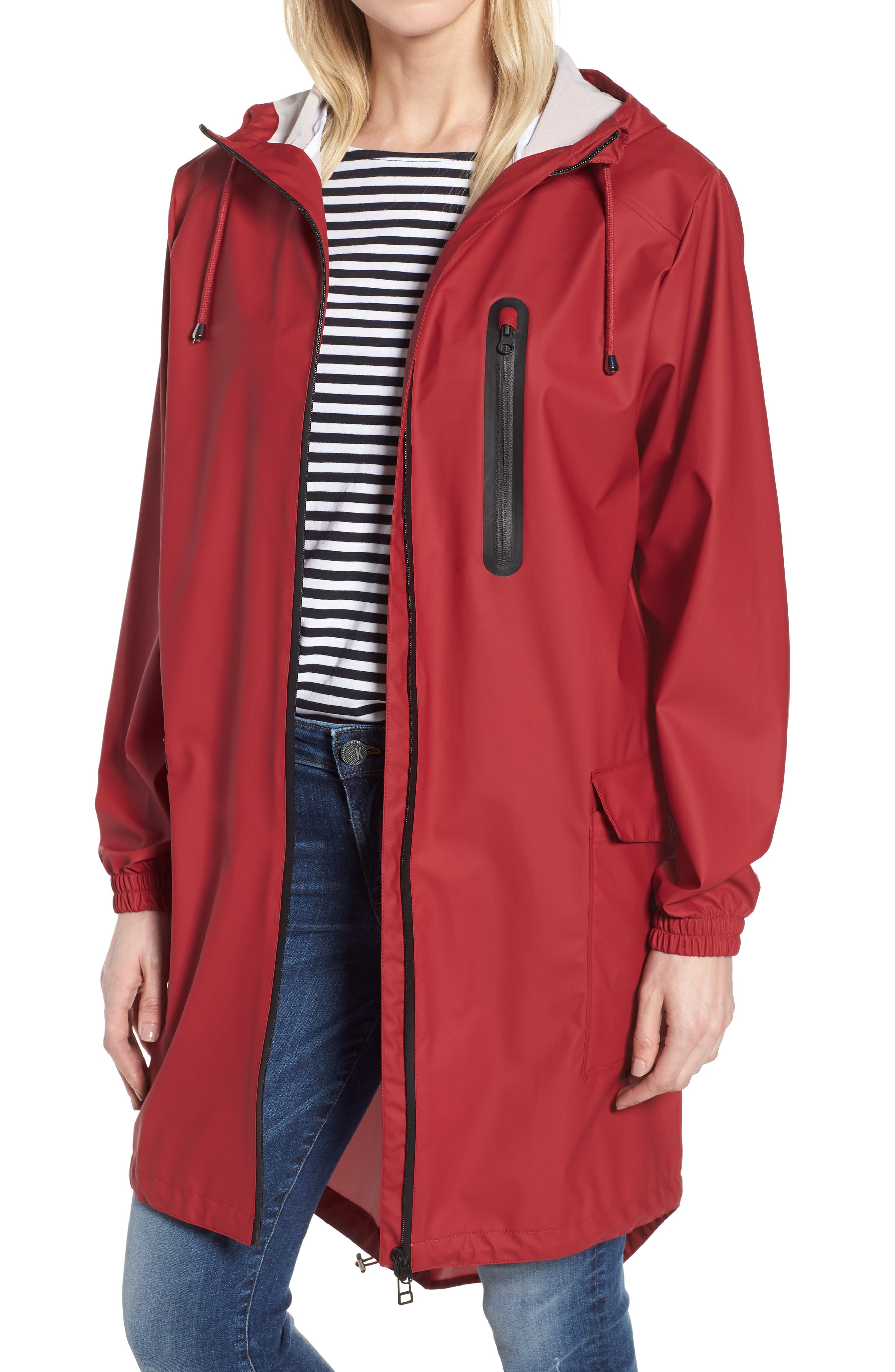 Hooded Rain Topper Jacket, Main, color, RED