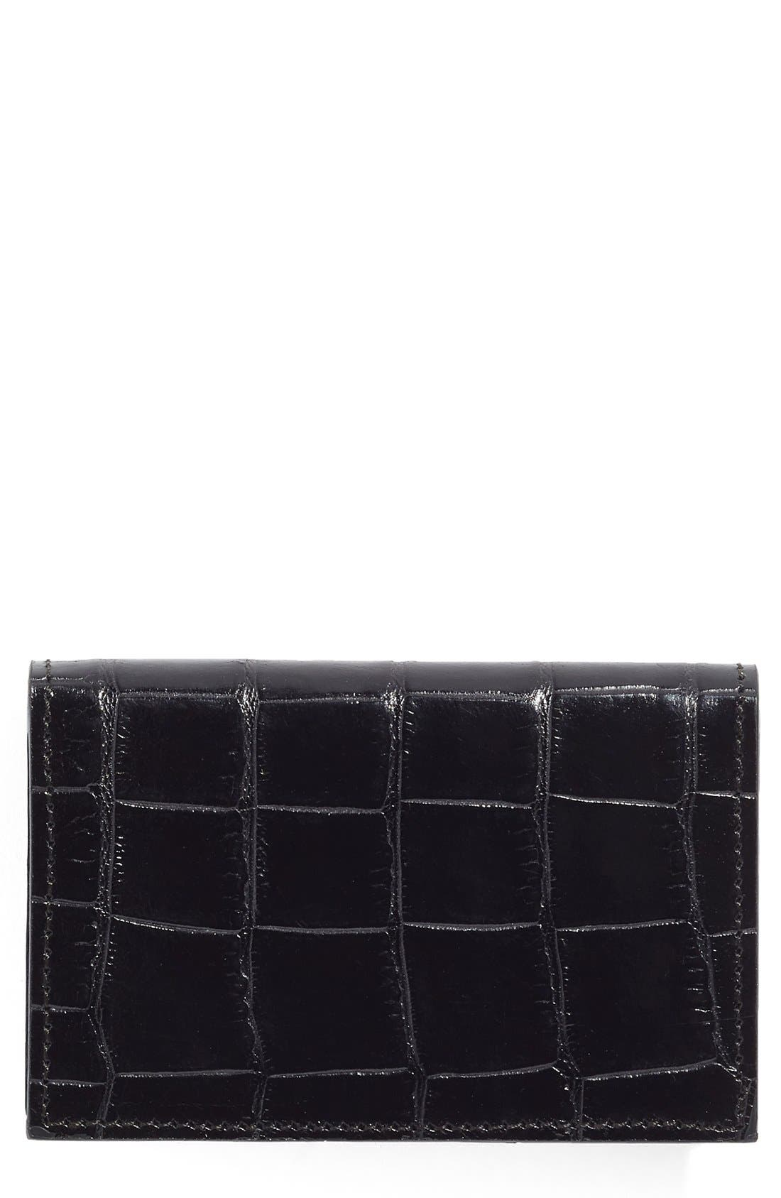 Leather Card Case,                         Main,                         color, 001