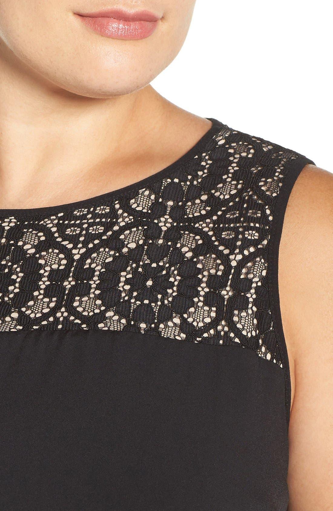 Lace Panel Gown,                             Alternate thumbnail 4, color,                             002