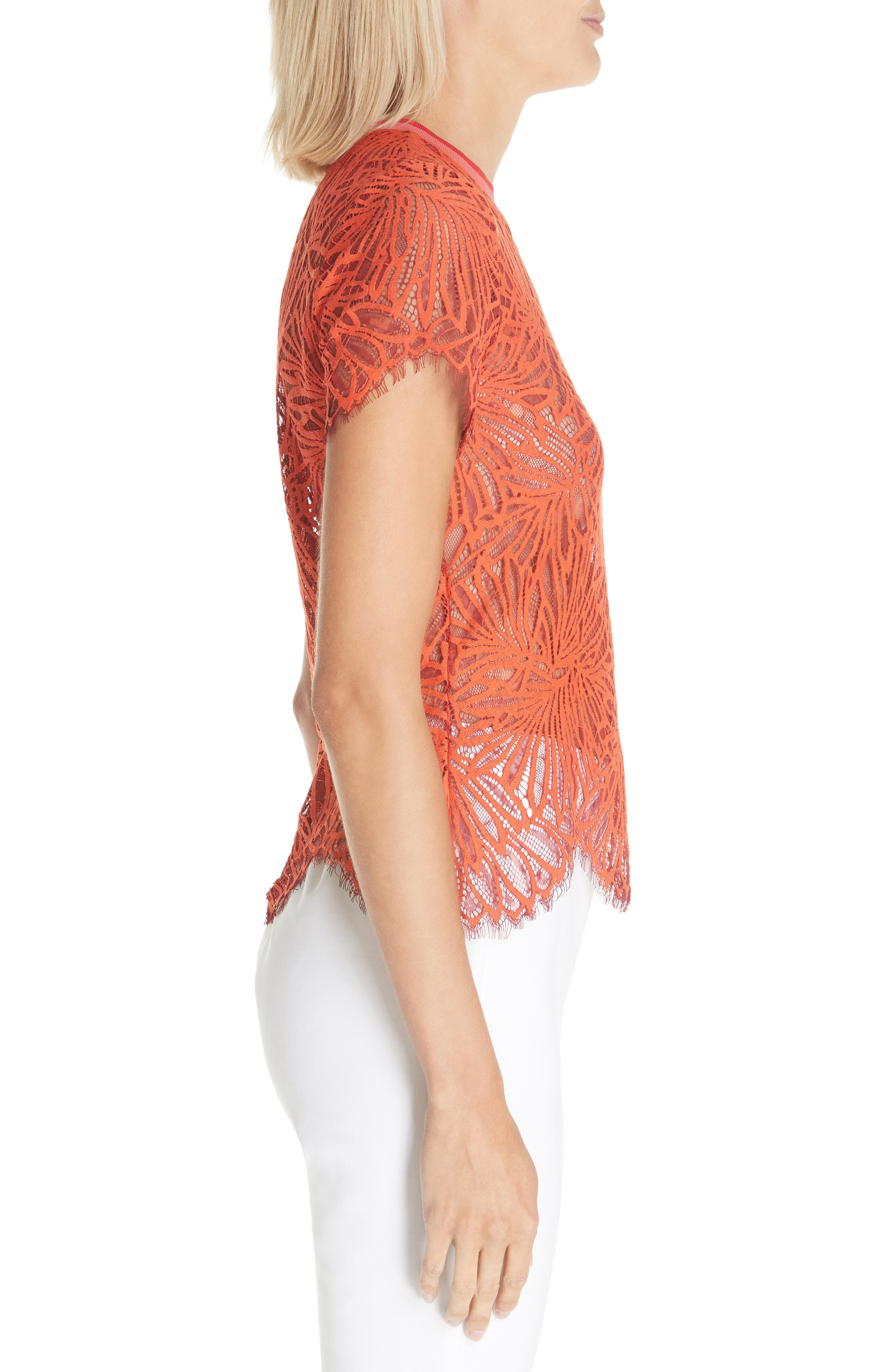 PROENZA SCHOULER,                             Scalloped Stretch Lace Top,                             Alternate thumbnail 3, color,                             TANGERINE