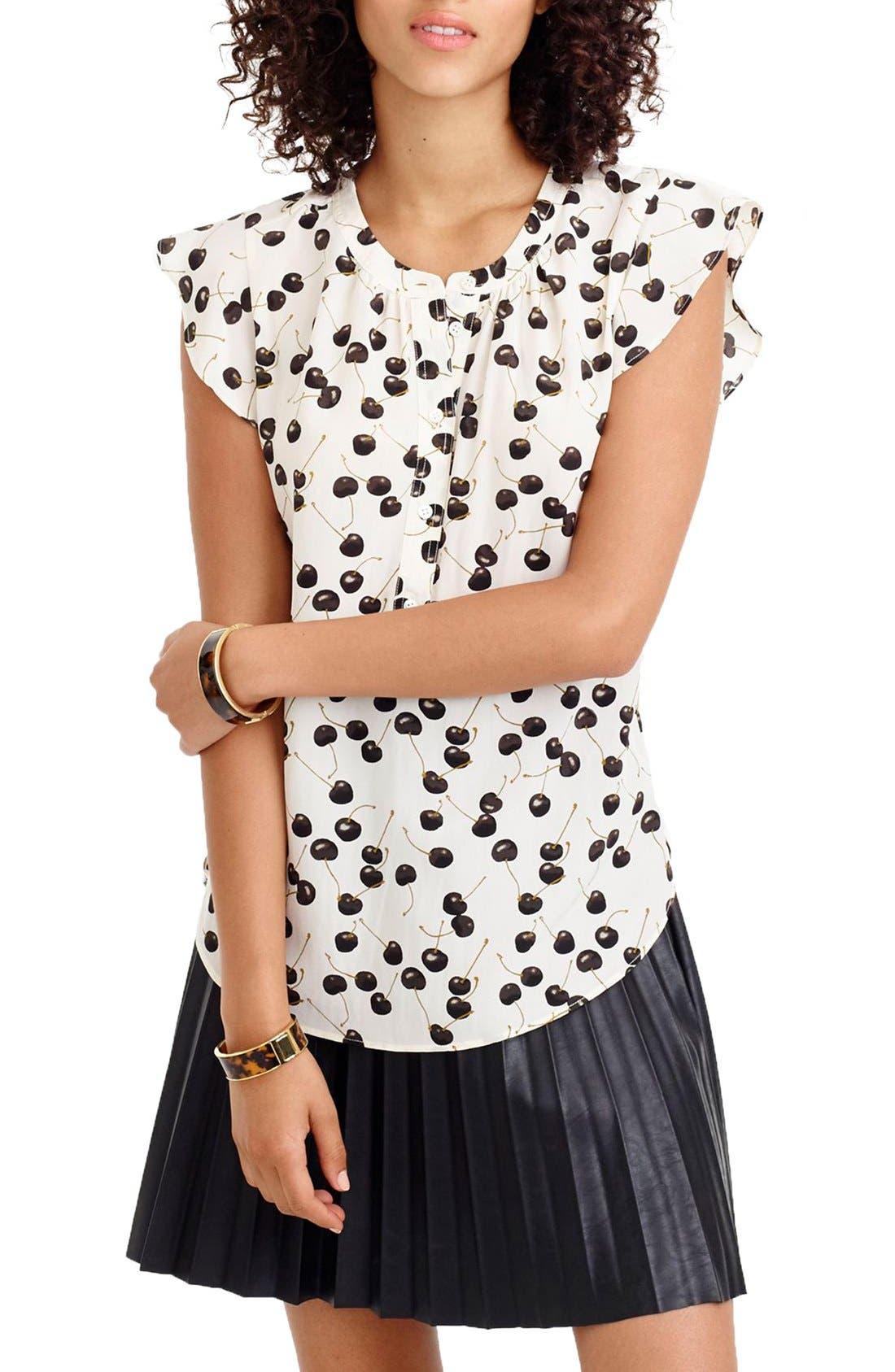 Flutter Sleeve Silk Top,                         Main,                         color,
