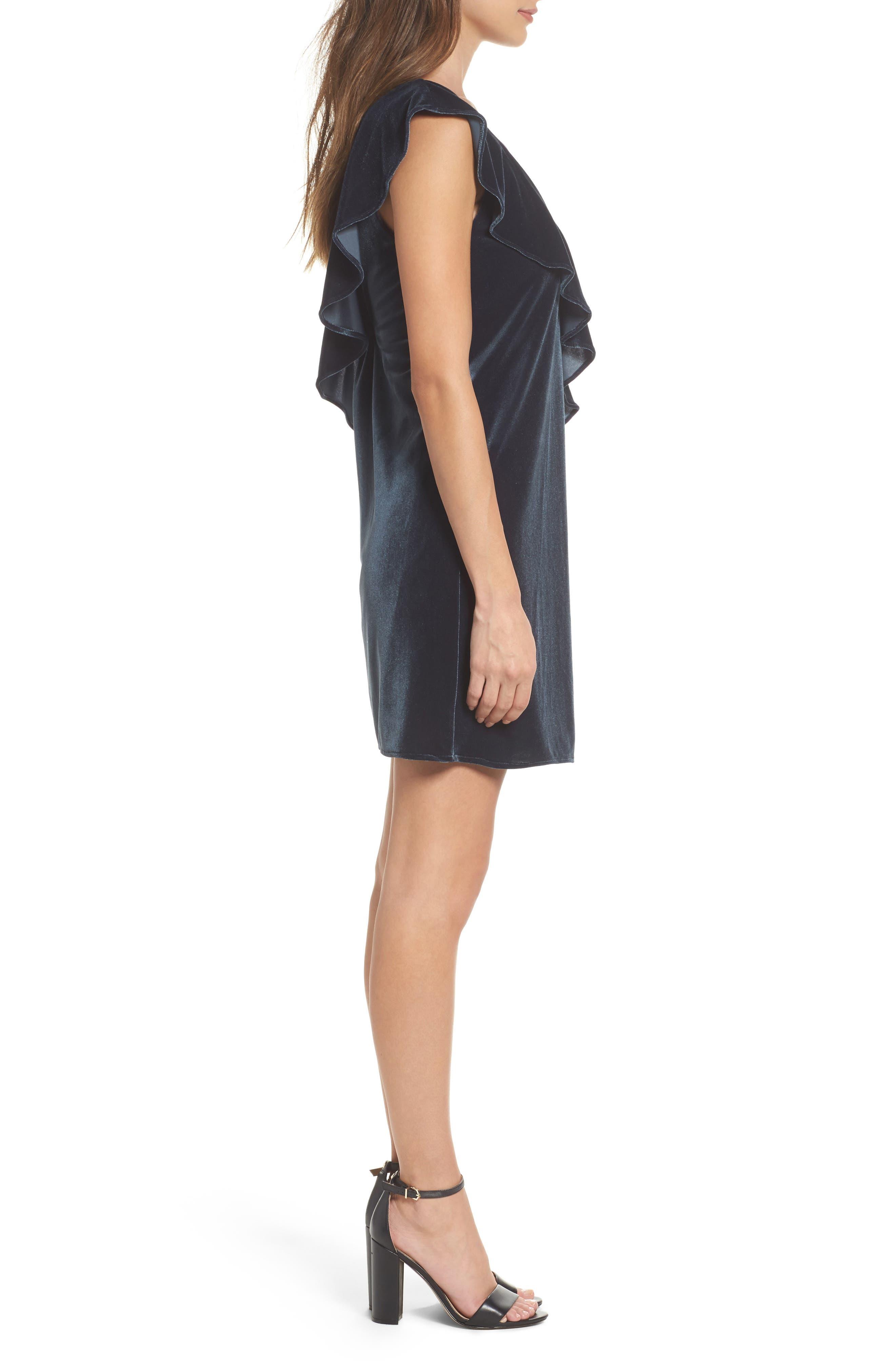 Ruffle Velvet Dress,                             Alternate thumbnail 3, color,                             302