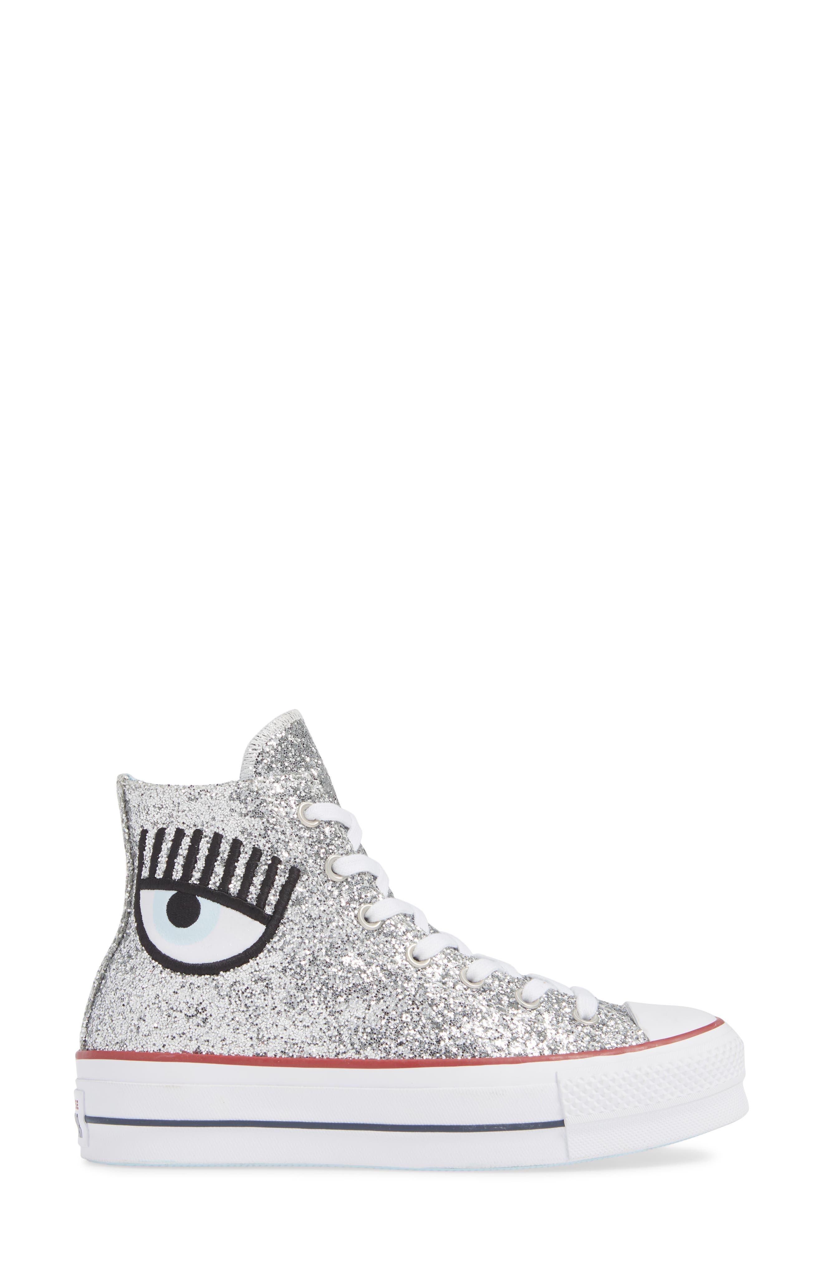 CONVERSE,                             x Chiara Ferragni 70 Hi One Star Glitter Platform Sneaker,                             Alternate thumbnail 3, color,                             040
