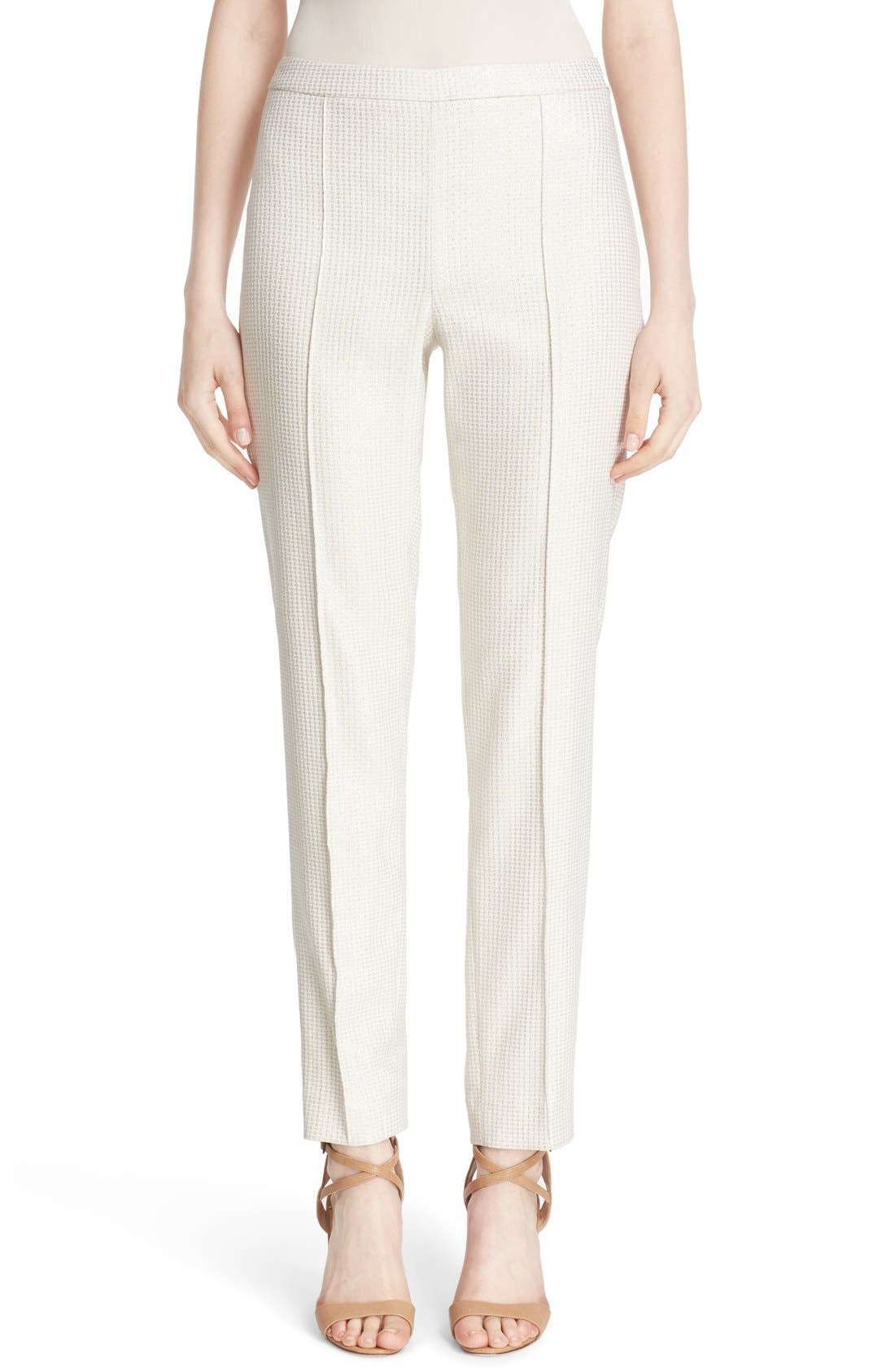 'Emma' Metallic Jacquard Crop Pants,                             Main thumbnail 1, color,                             900