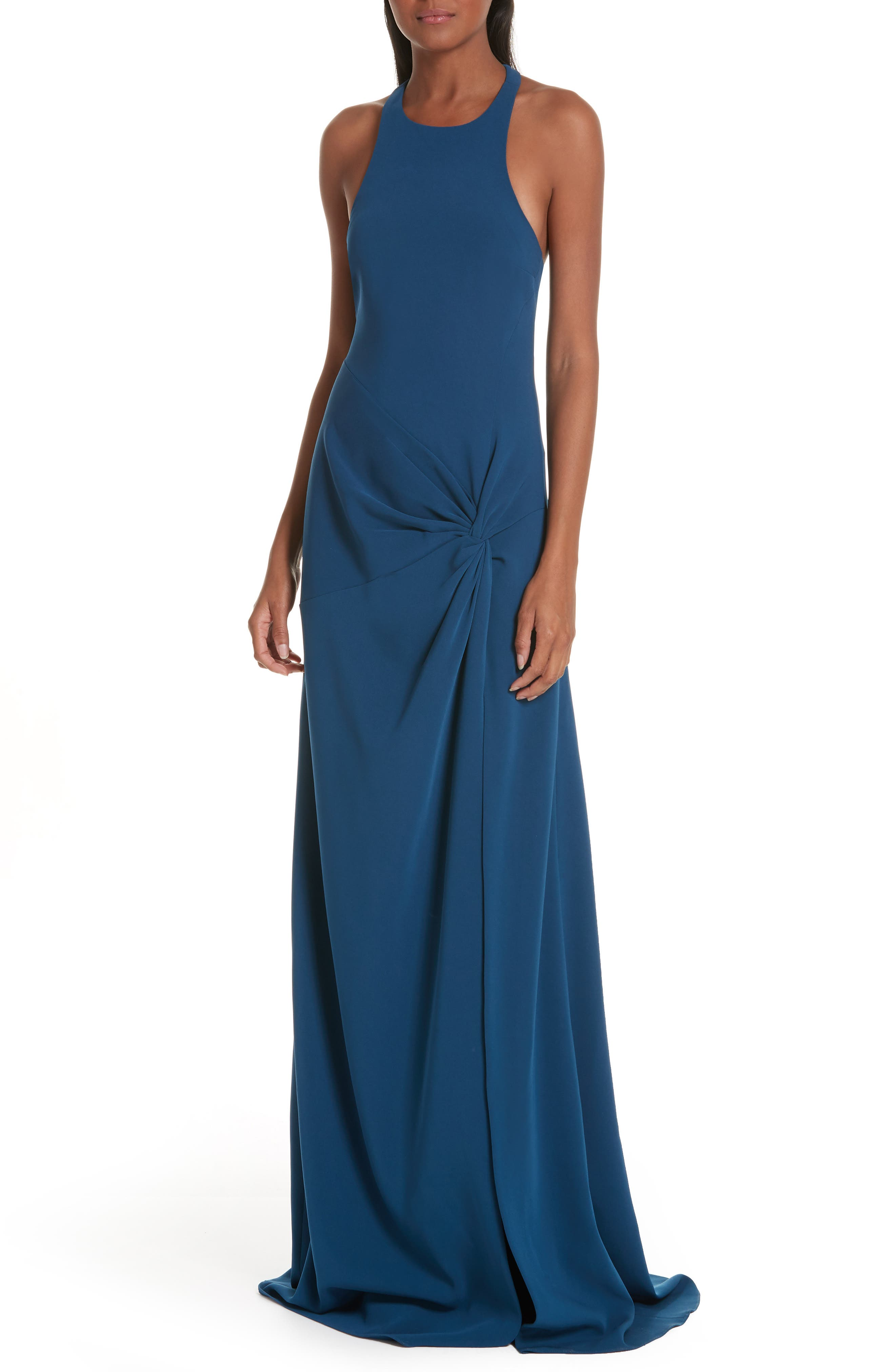 Cinq A Sept Alia Knotted Gown, Blue