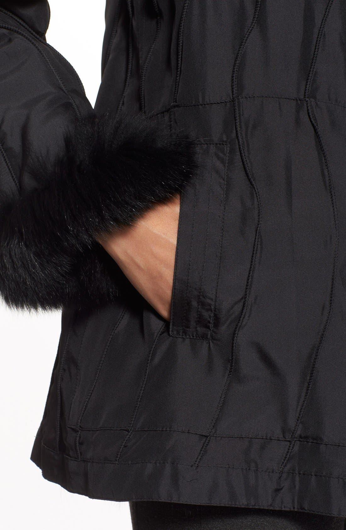 GeorgeSimonton Reversible Silk & Genuine Fox Fur Topper,                             Alternate thumbnail 8, color,