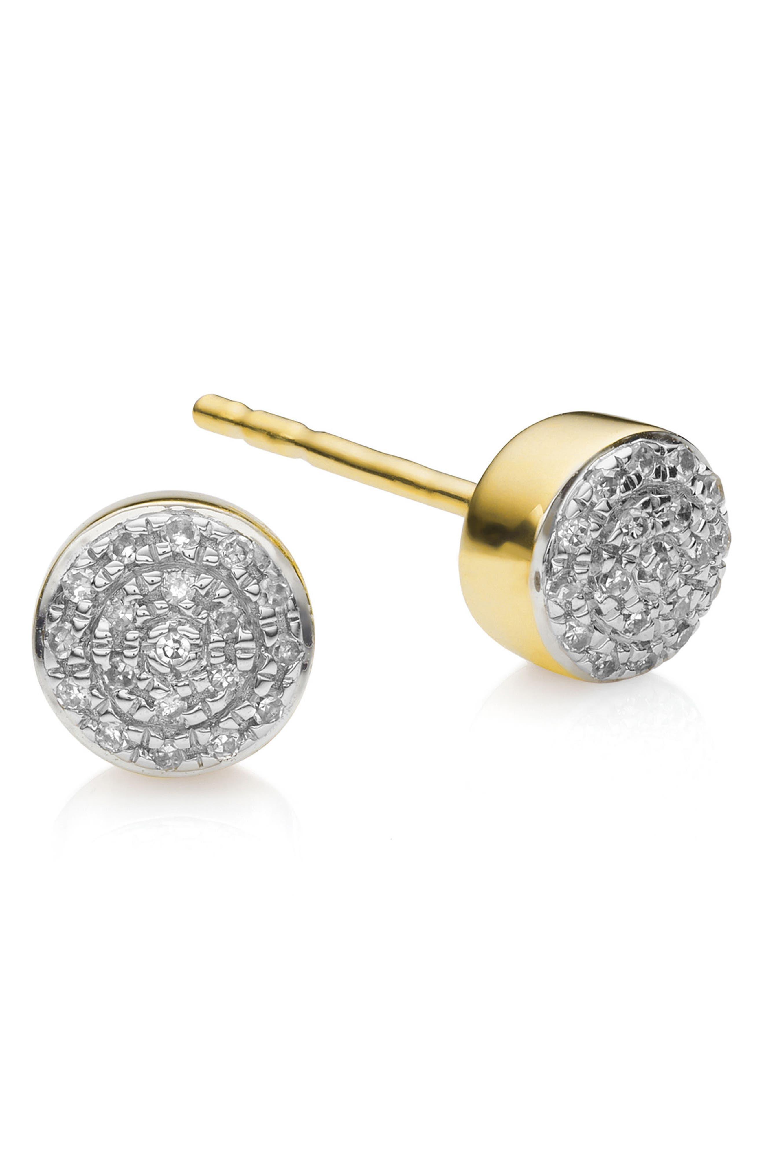 MONICA VINADER Fiji Mini Diamond Button Stud Earrings, Main, color, GOLD
