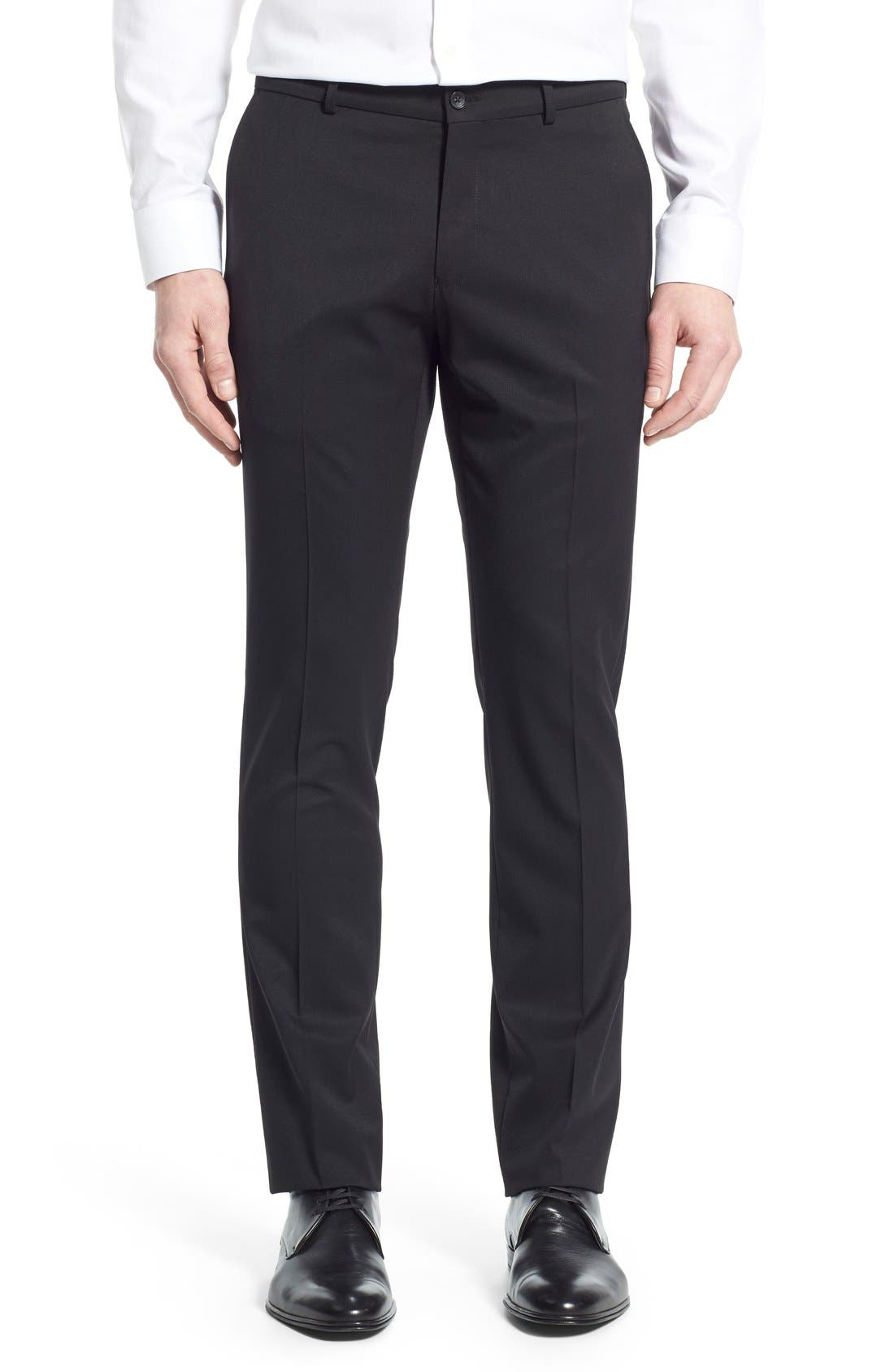 Regular Fit Flat Front Trousers,                             Main thumbnail 1, color,                             001