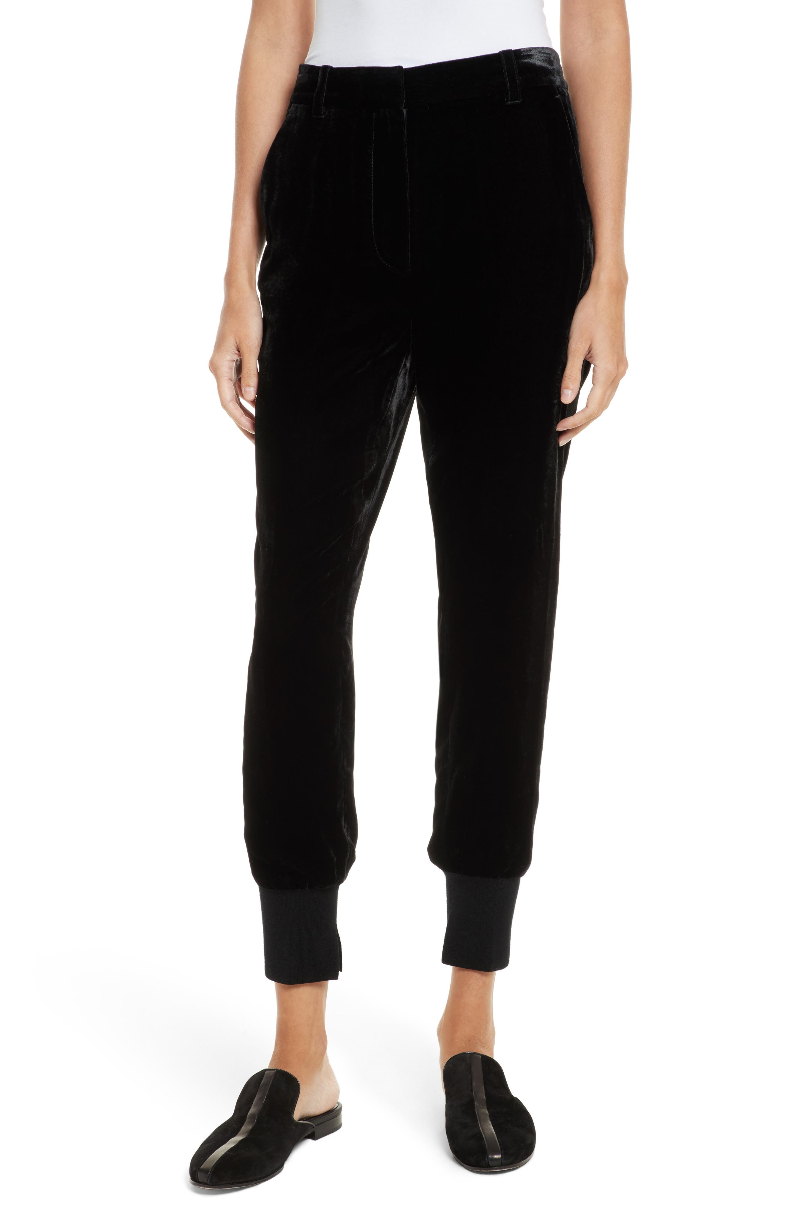 Velvet Jogger Pants,                             Main thumbnail 1, color,                             001