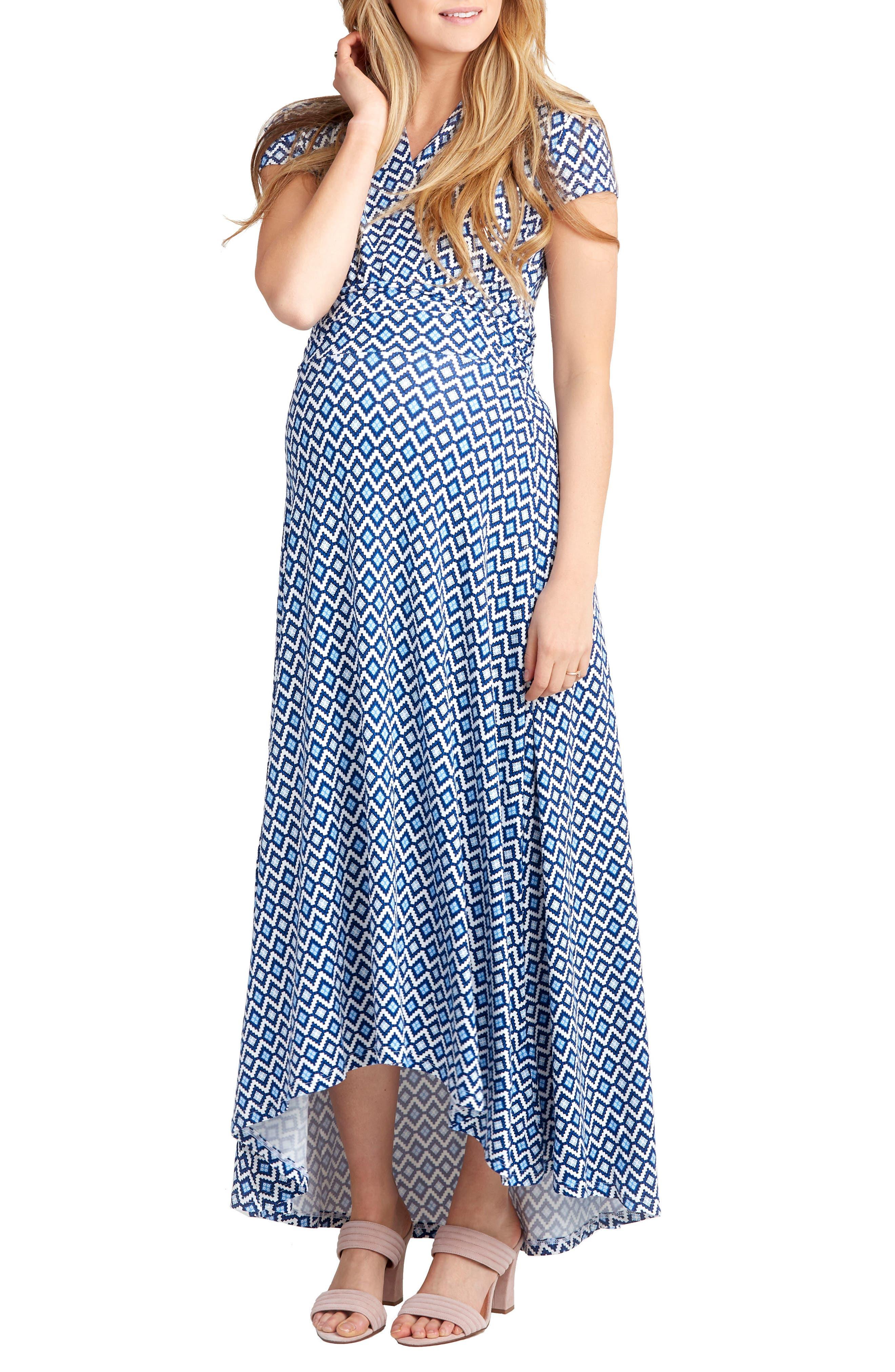 'Caroline' Maternity/Nursing Maxi Dress,                         Main,                         color, BLUE GEO