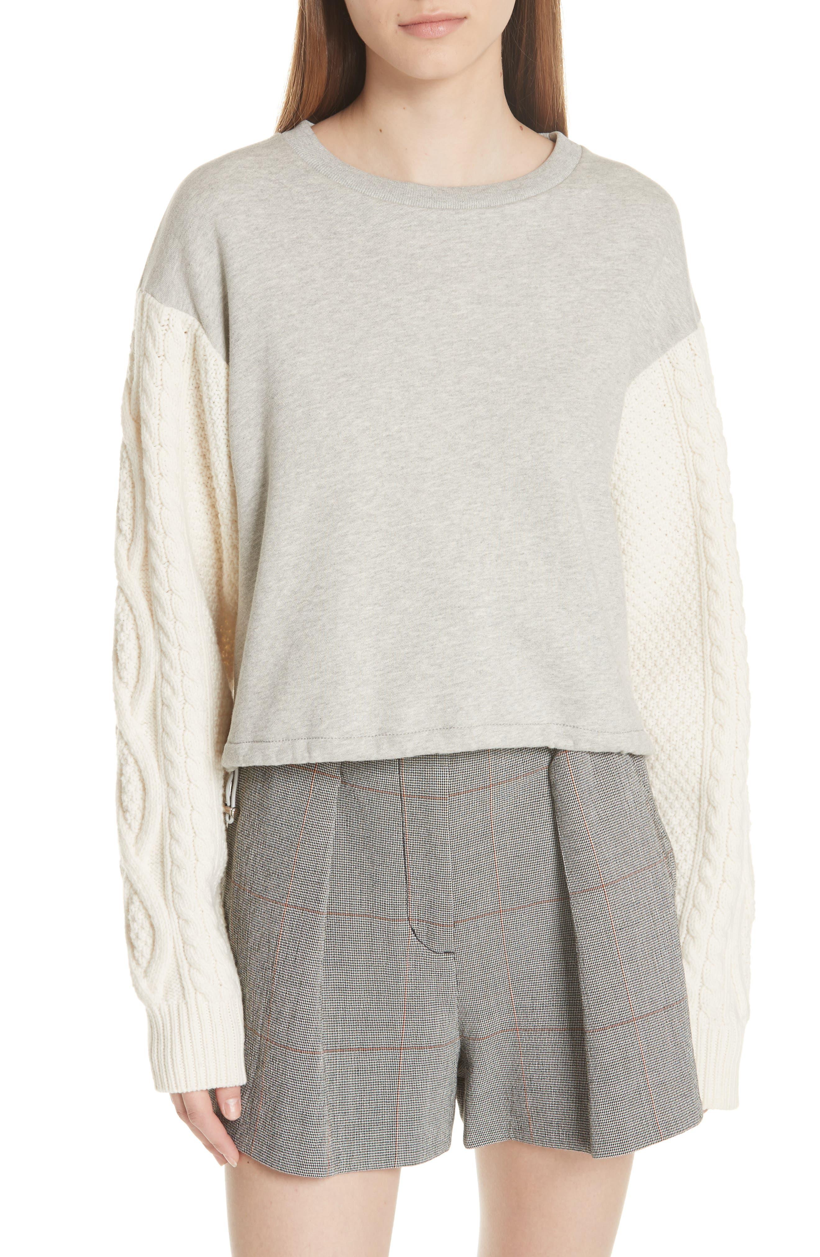 3.1 Phillip Lim Cable Knit Sleeve Sweatshirt, Grey