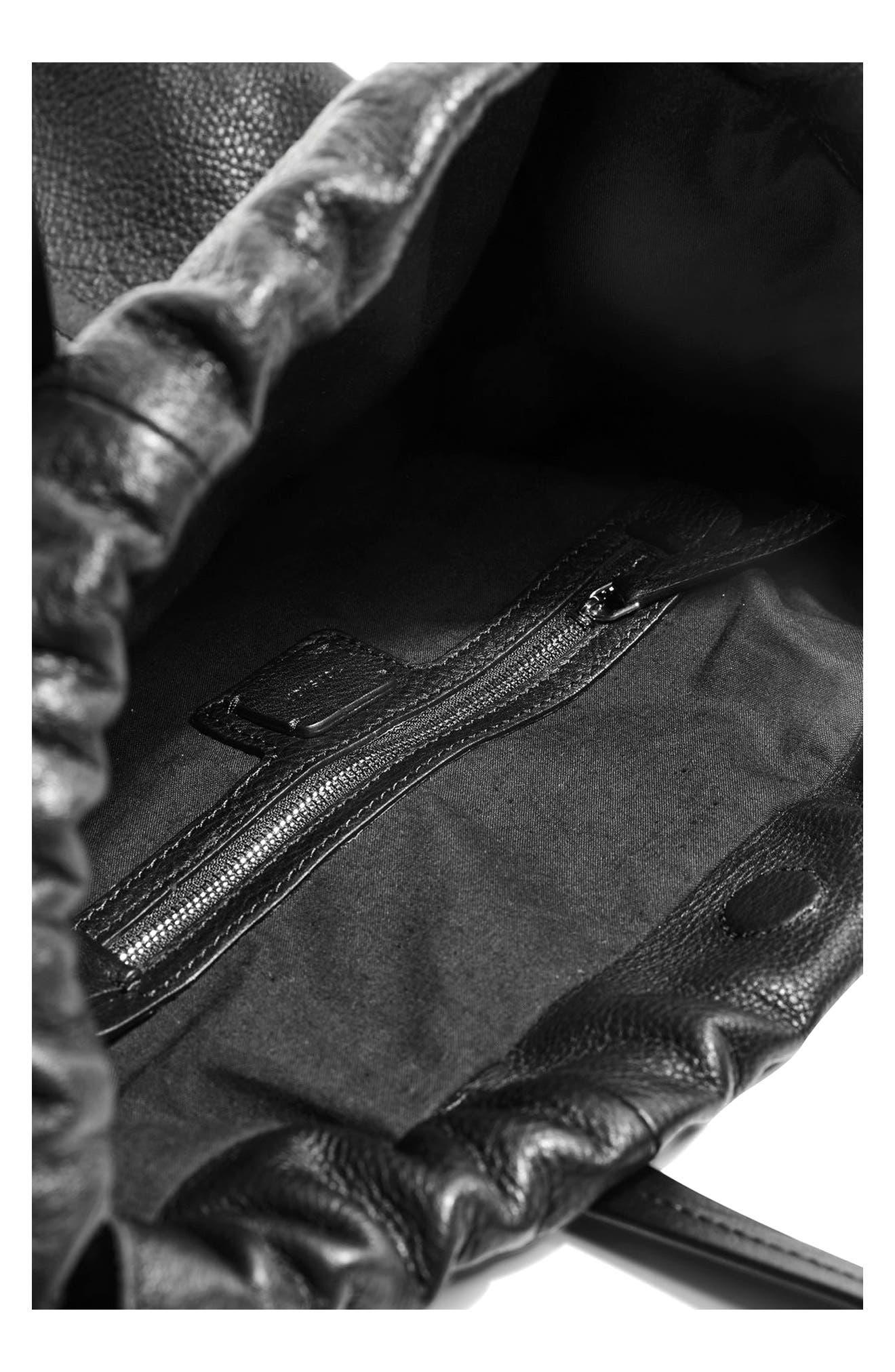 Premium Leather Drawstring Shoulder Bag,                             Alternate thumbnail 4, color,                             001