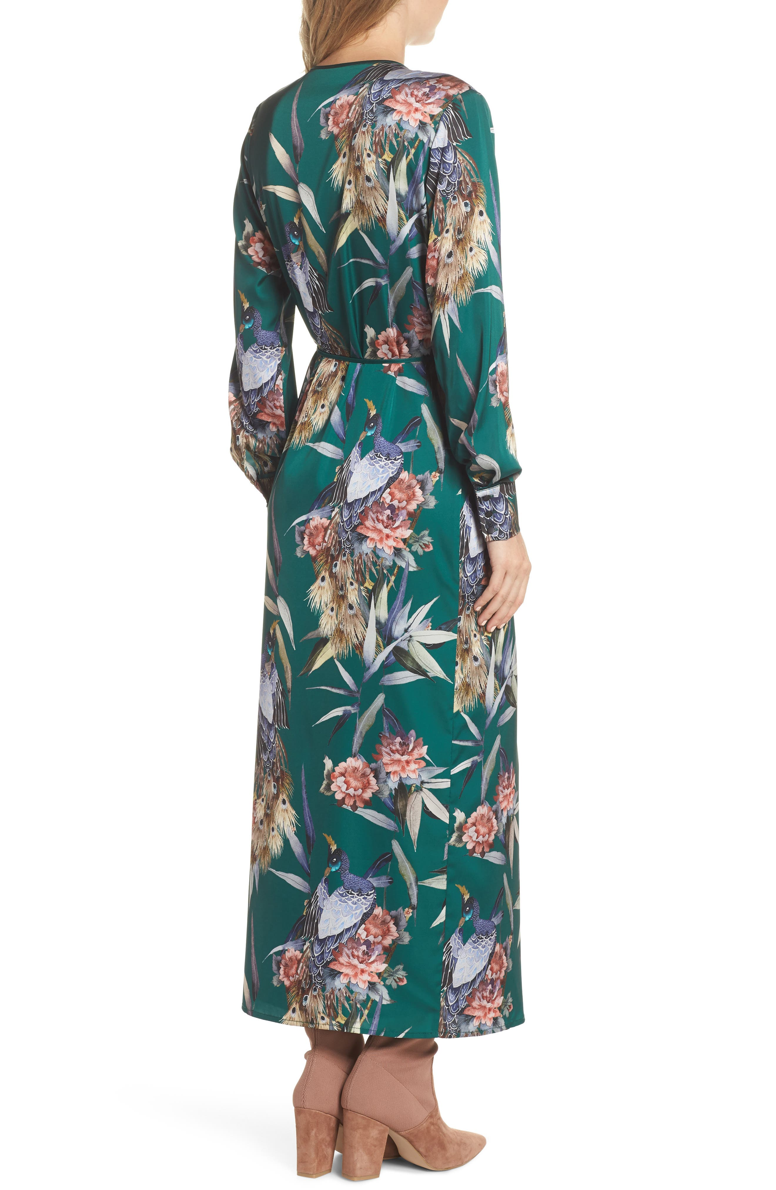 FOREST LILY,                             Floral Print Wrap Dress,                             Alternate thumbnail 2, color,                             EVERGREEN COMBO