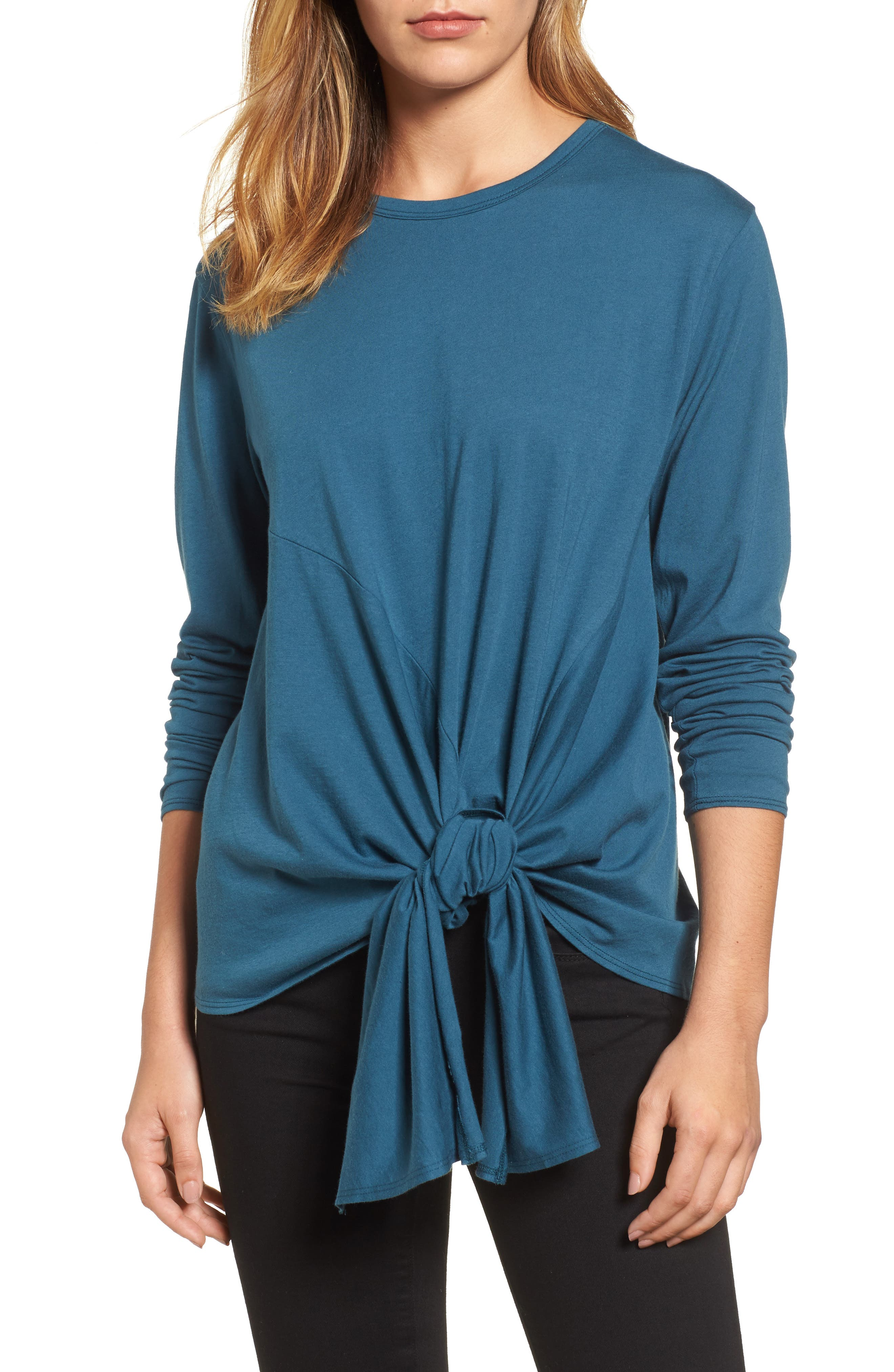 Long Sleeve Side Tie Tee,                             Main thumbnail 5, color,