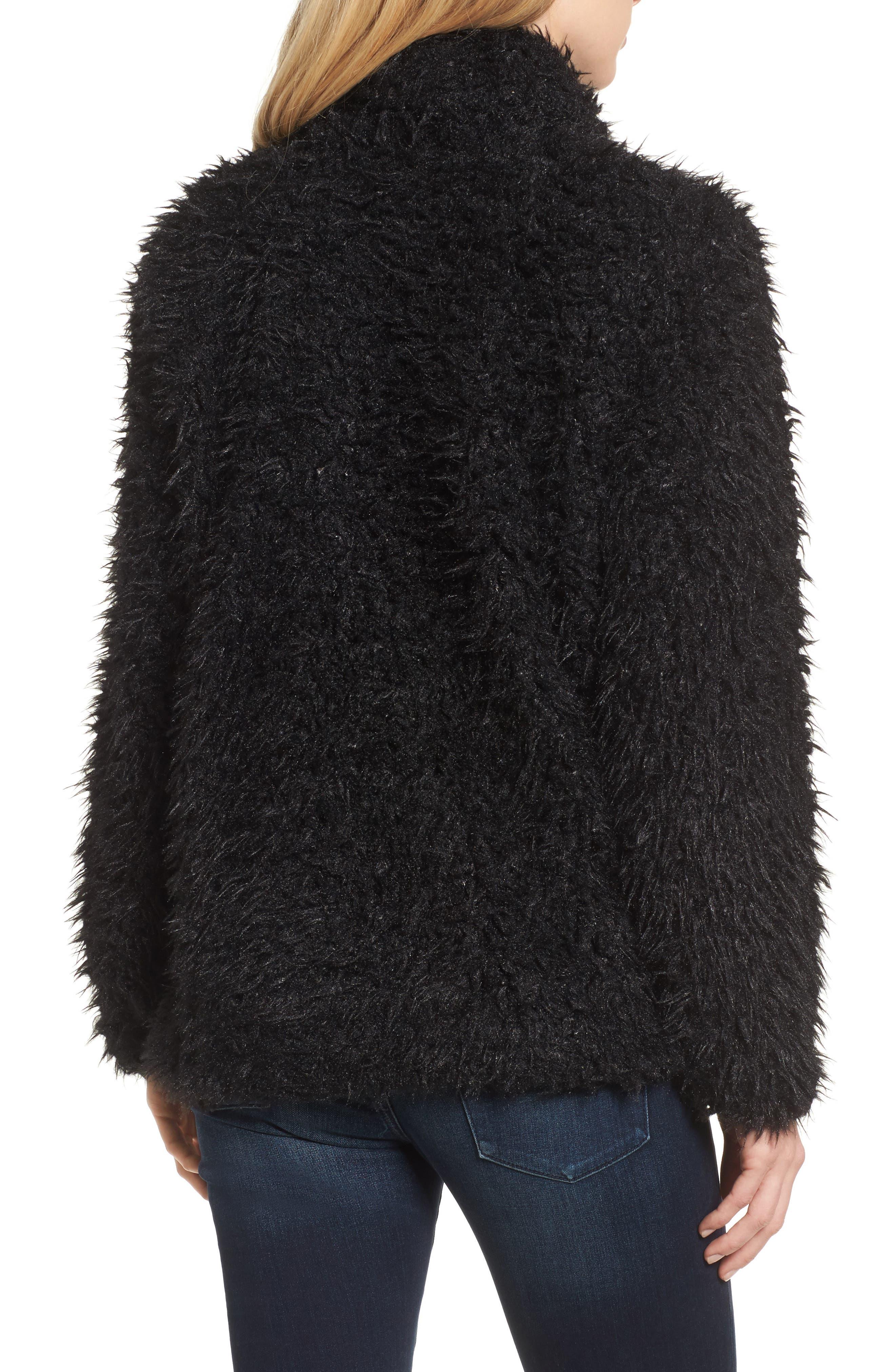 Faux Fur Jacket,                             Alternate thumbnail 2, color,                             001