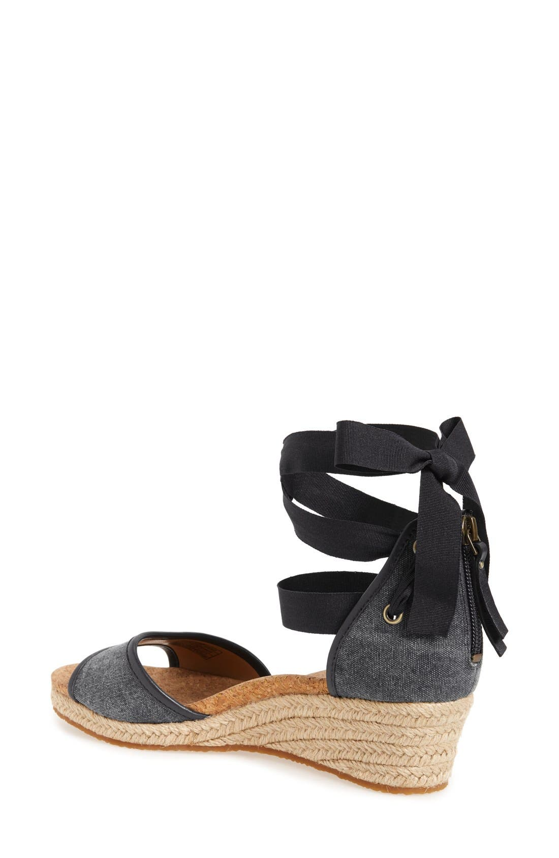 UGG<SUP>®</SUP>,                             Amell Ankle Wrap Sandal,                             Alternate thumbnail 6, color,                             001