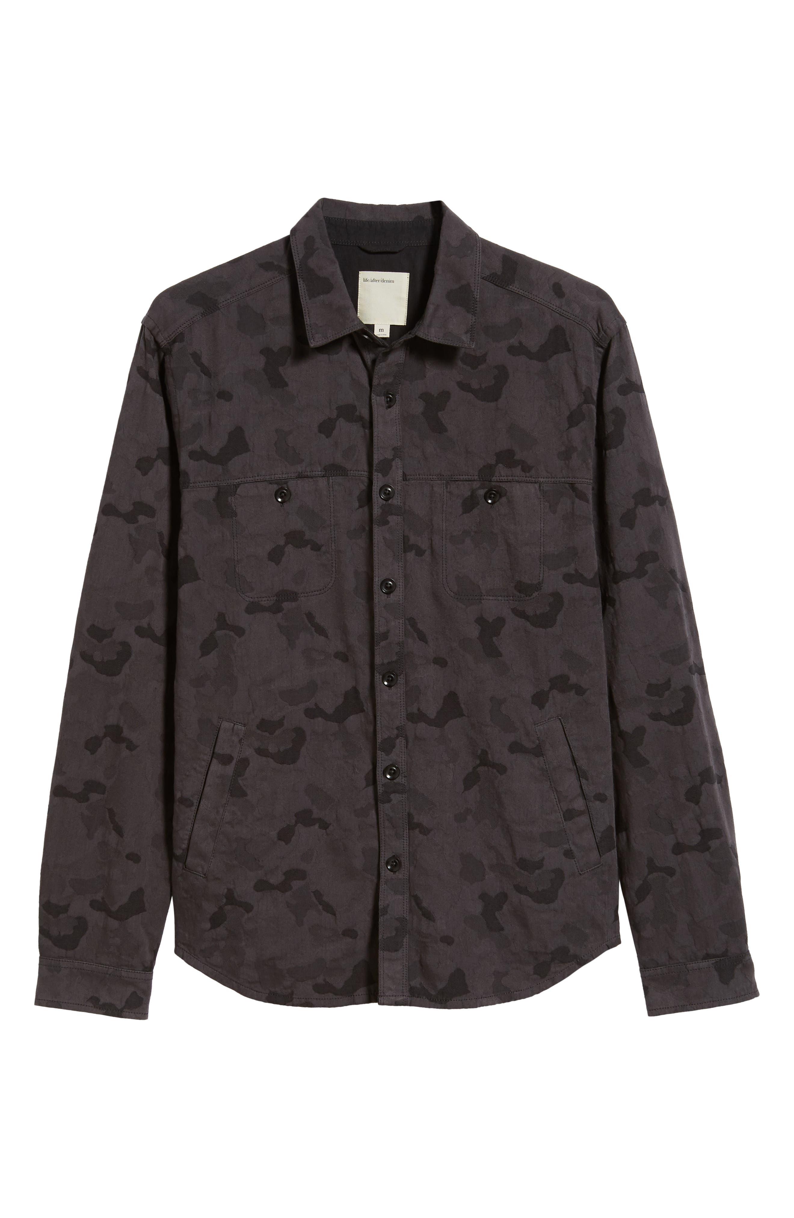 Camouflage Slim Cotton Jacquard Shirt Jacket,                             Alternate thumbnail 6, color,                             060