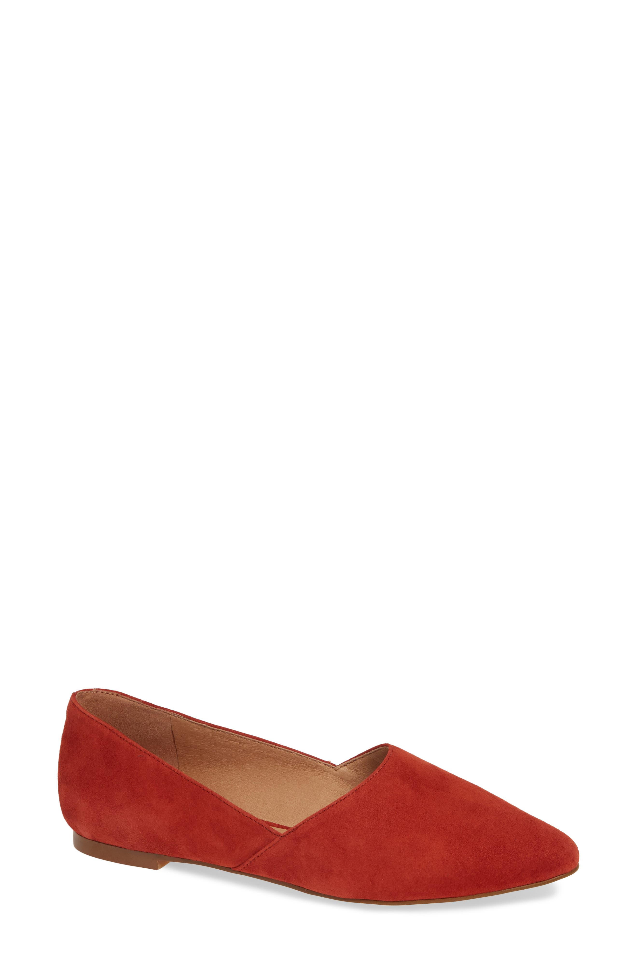 Lizbeth Pointy Toe Flat,                             Main thumbnail 1, color,                             DARK CINNABAR