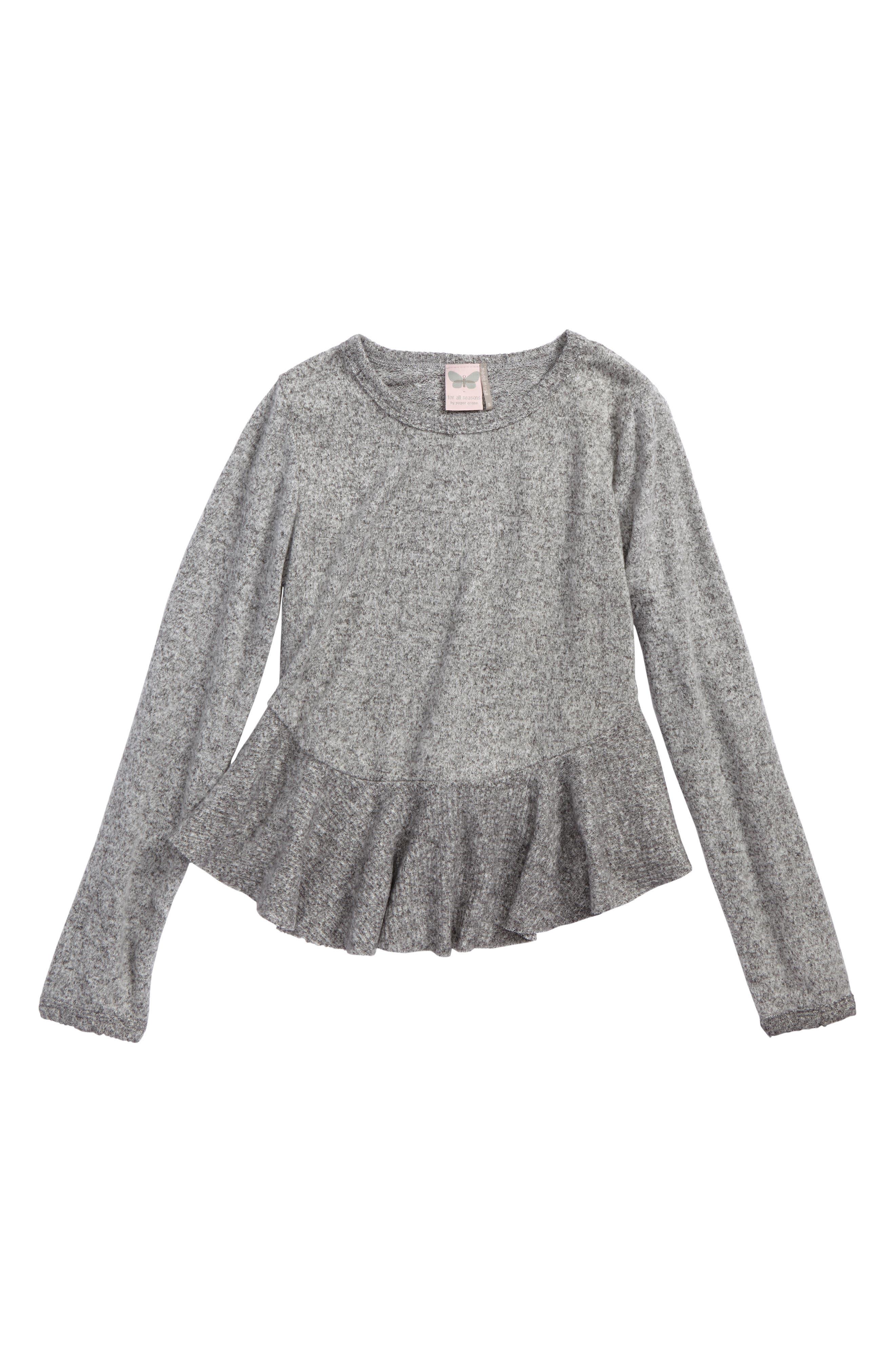 Fleece Peplum Top,                         Main,                         color, 021