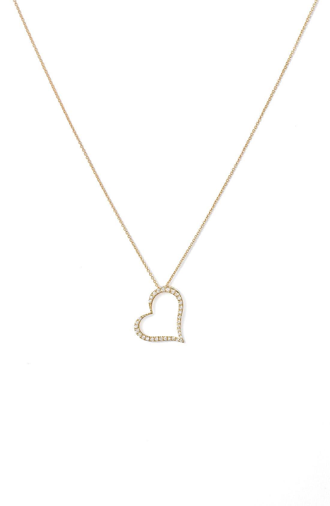Slanted Diamond Heart Pendant Necklace,                             Main thumbnail 1, color,                             YELLOW GOLD