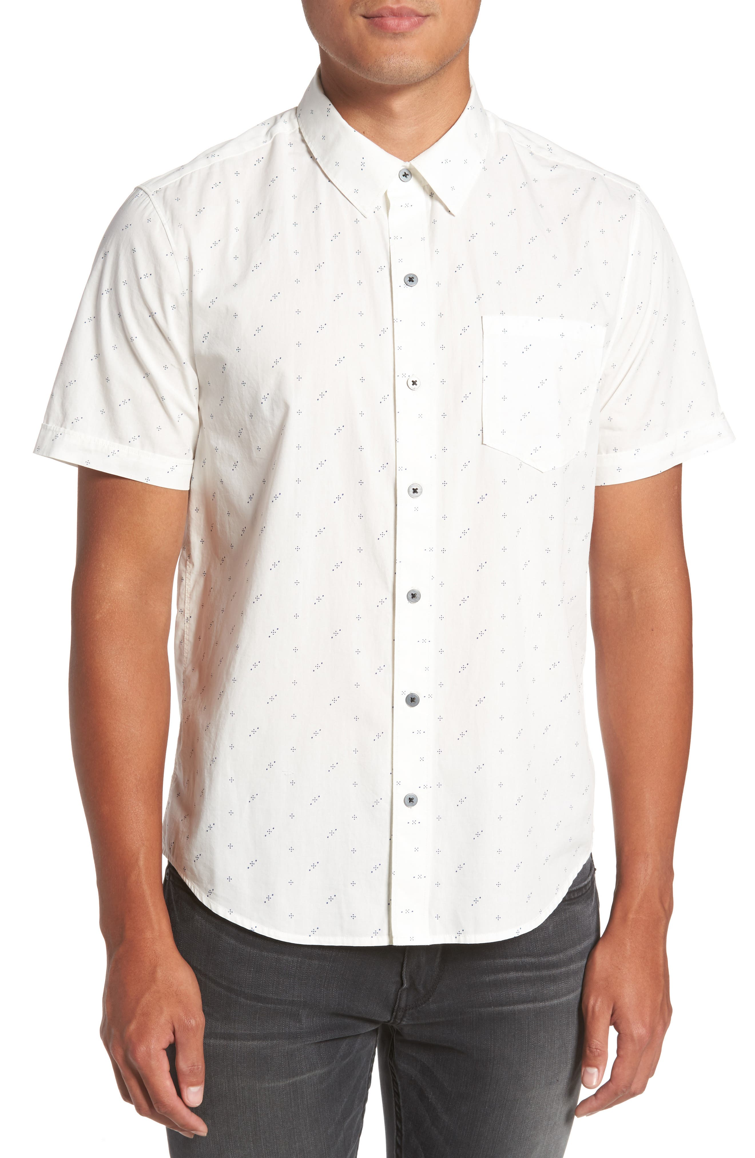 Becker Dot Print Woven Shirt,                             Main thumbnail 1, color,                             140