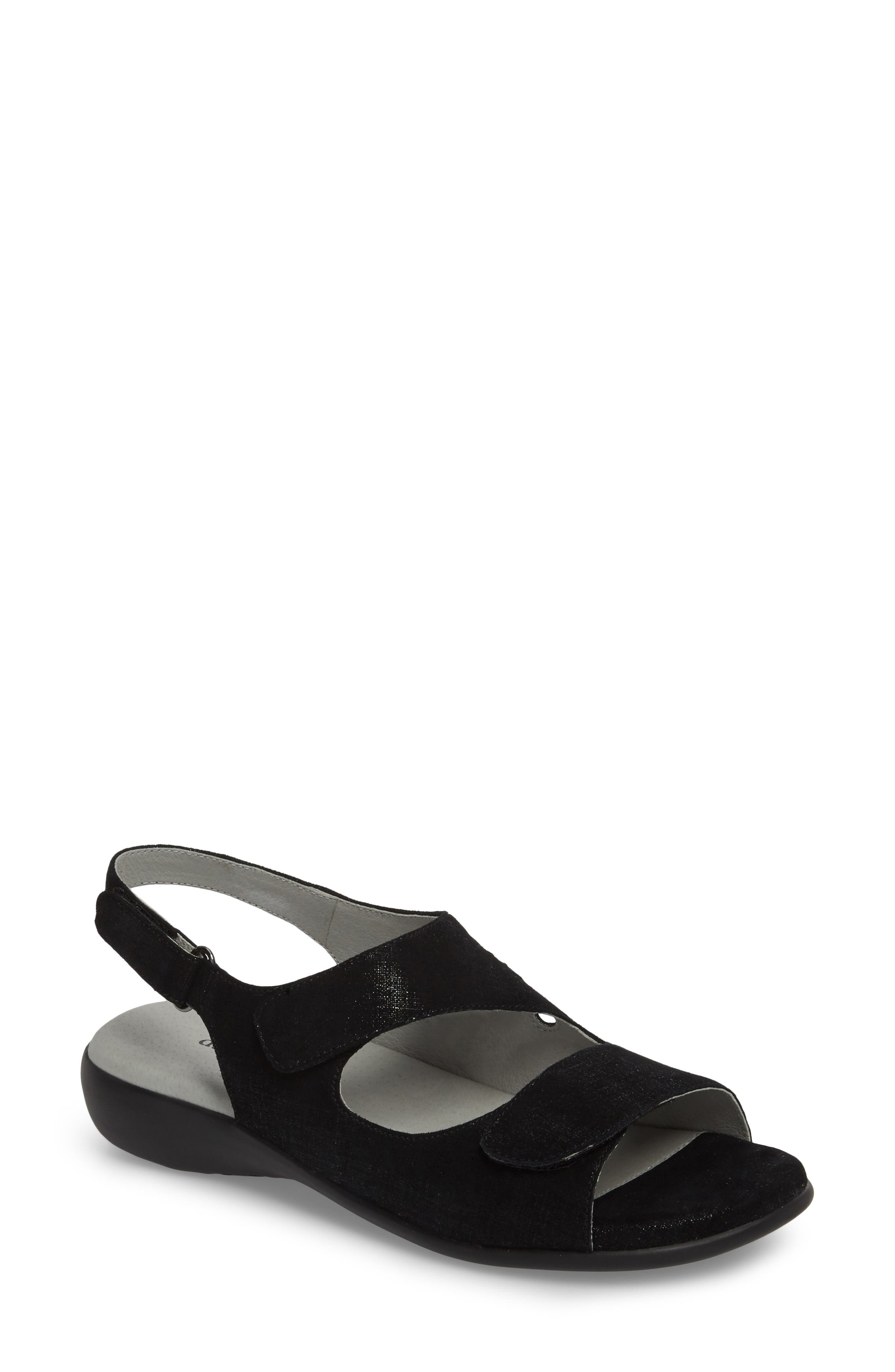 Lilly Slingback Sandal,                         Main,                         color, BLACK LEATHER