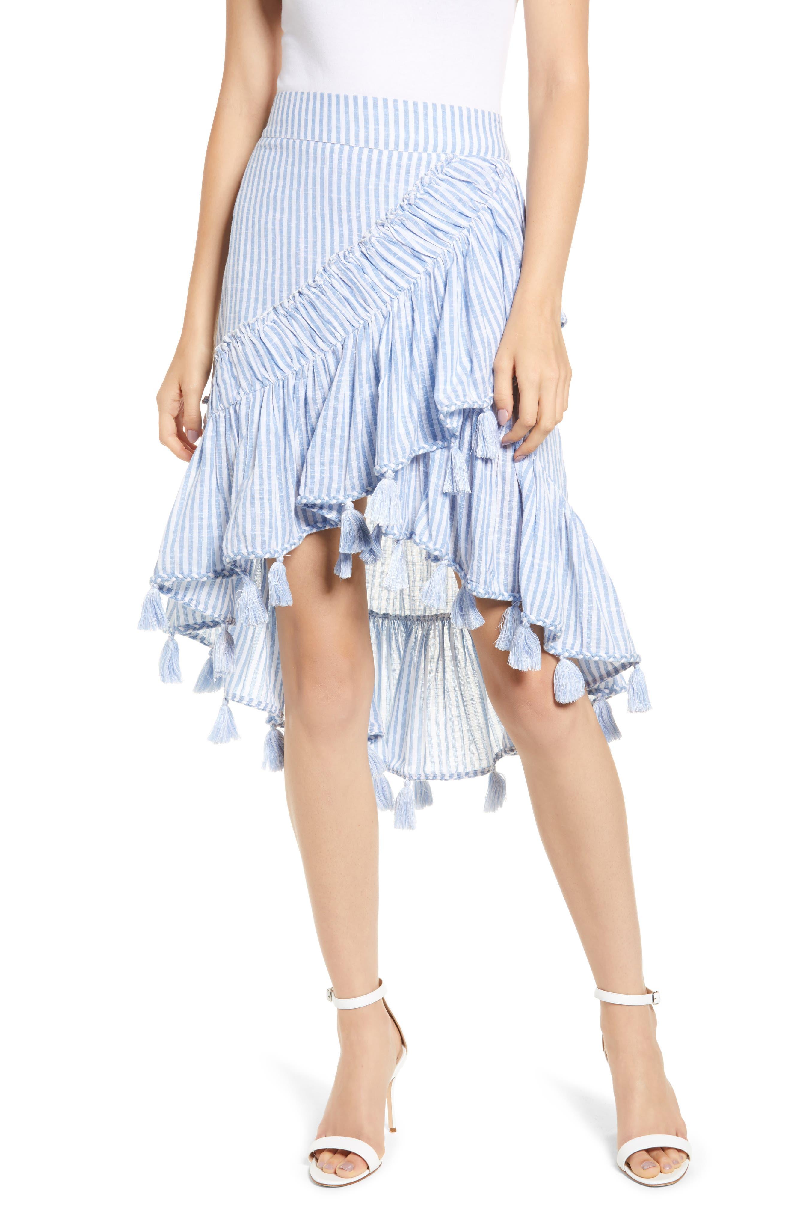 Rosero Ruffle High/Low Skirt,                             Main thumbnail 1, color,                             BLUE STRIPE