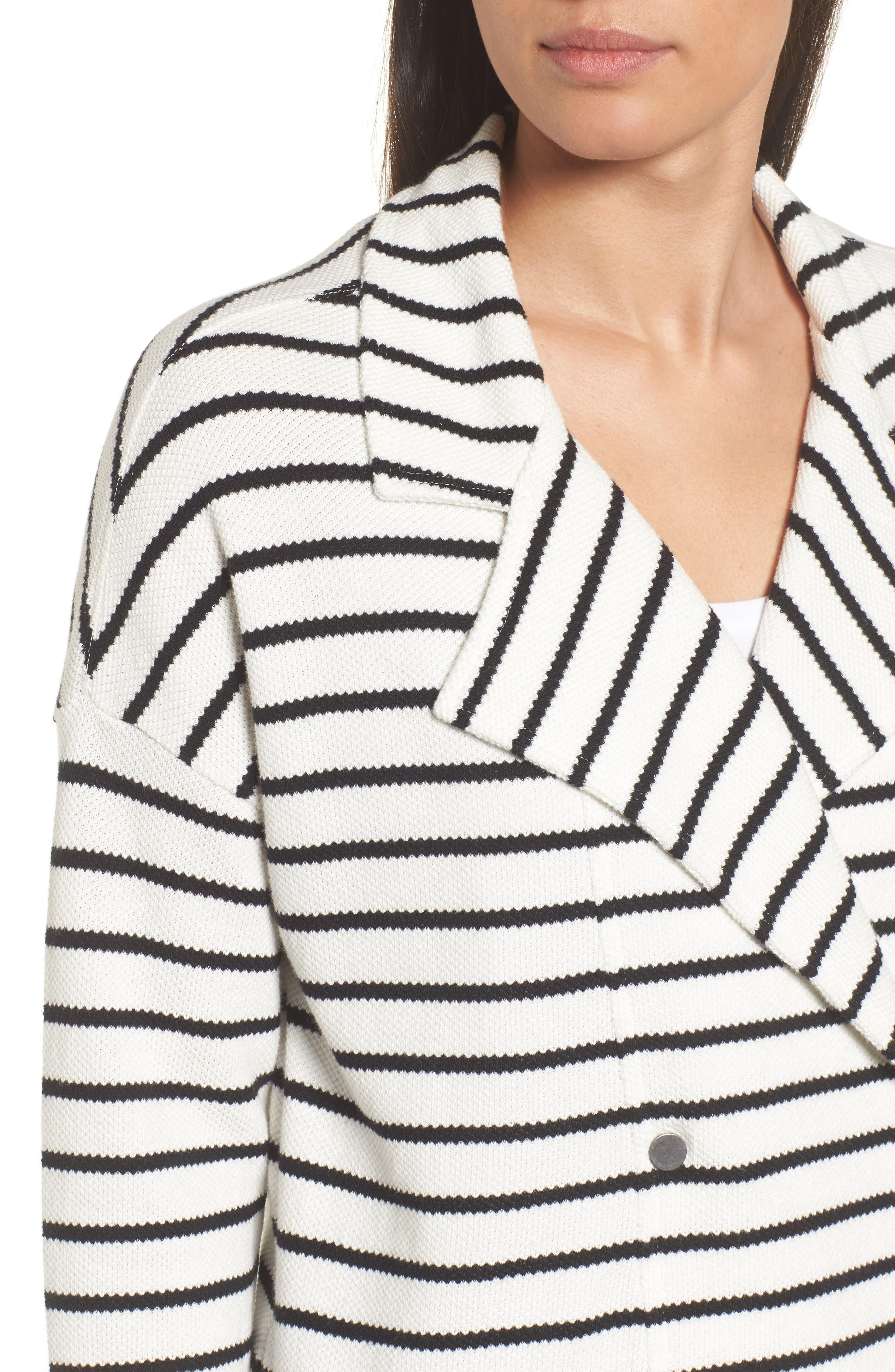 Stripe Knit Drawsting Jacket,                             Alternate thumbnail 8, color,