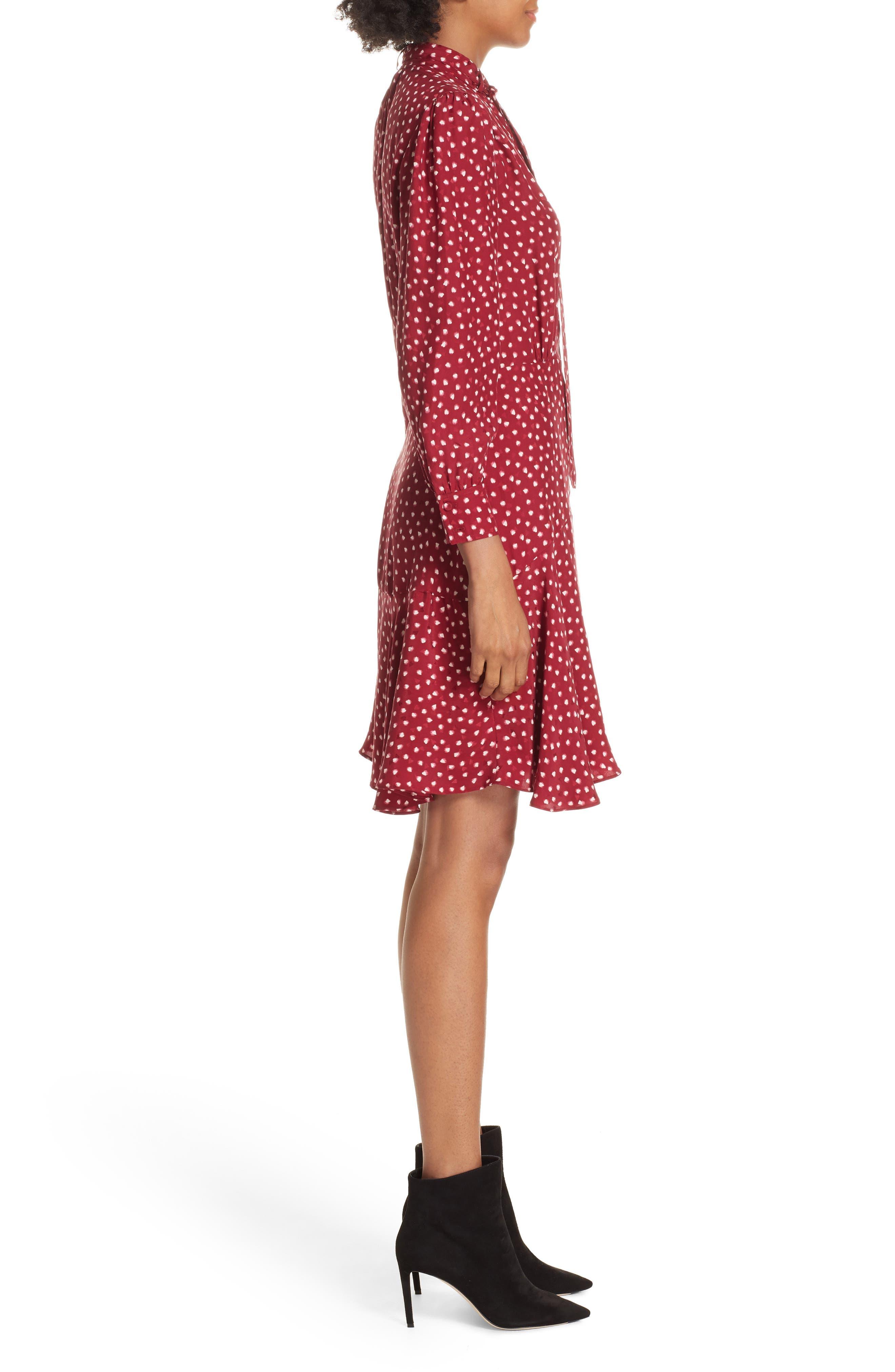 REBECCA TAYLOR,                             Dot Print Fit & Flare Dress,                             Alternate thumbnail 3, color,                             602