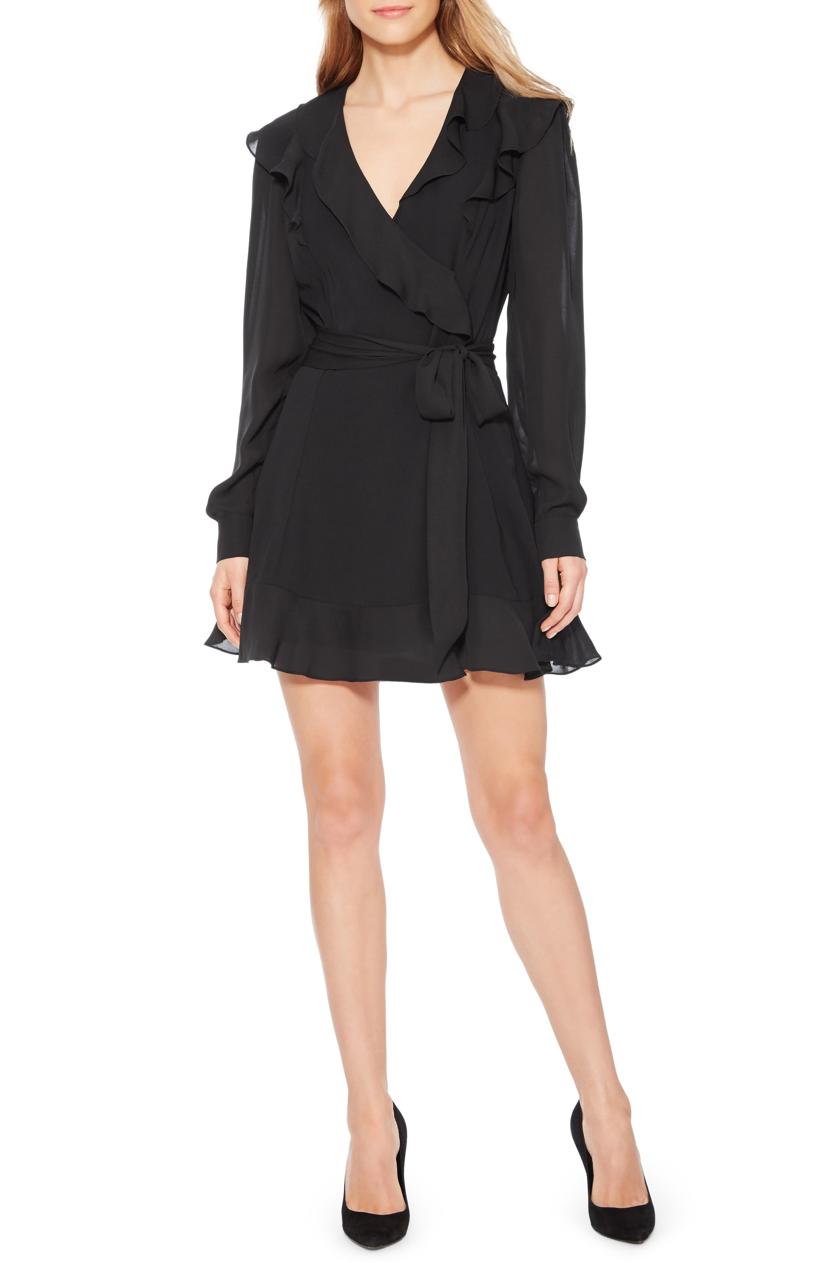 Pauline Tie Waist Dress,                             Main thumbnail 1, color,                             BLACK