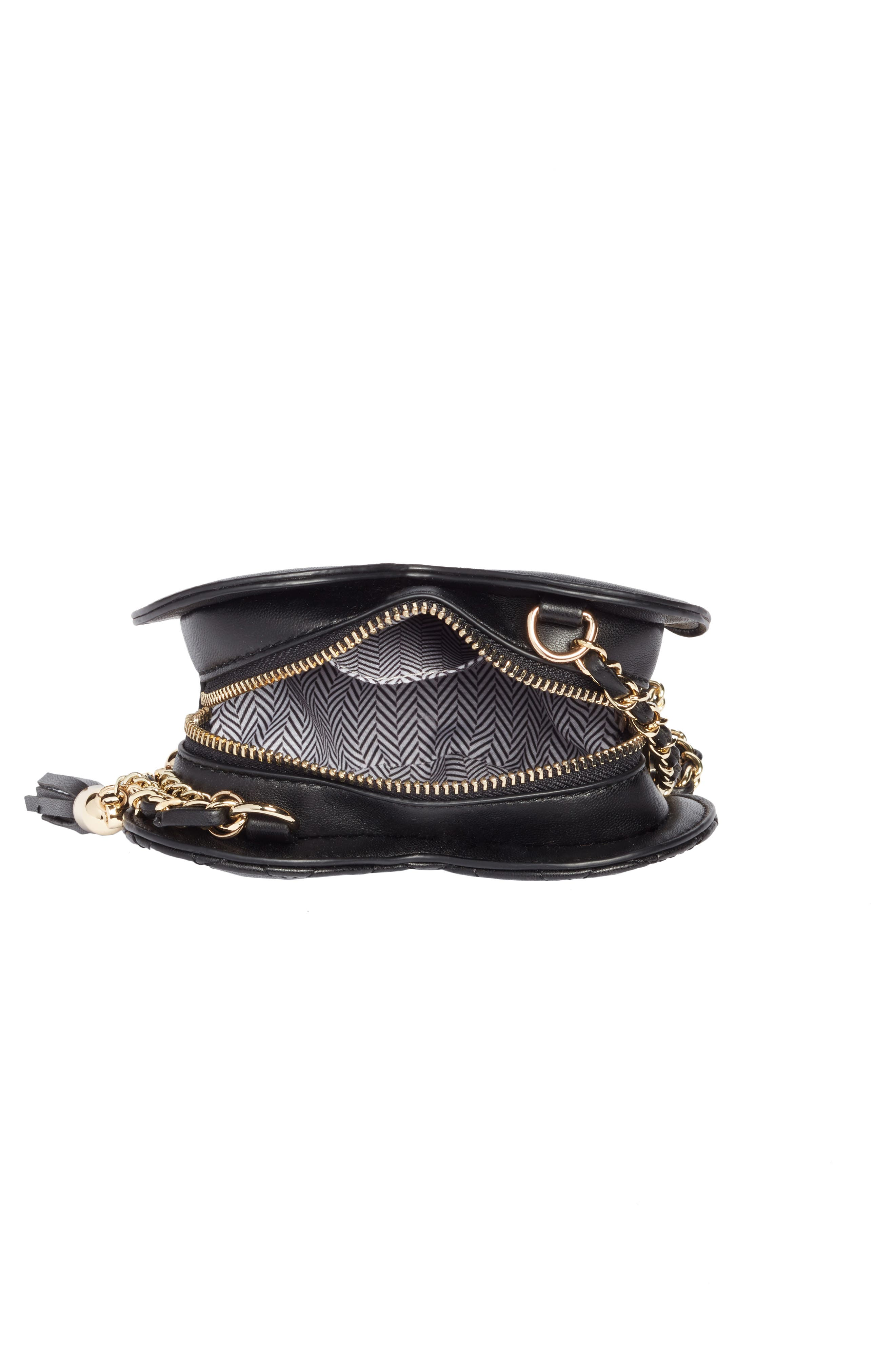 Mali + Lili Quilted Heart Vegan Leather Crossbody Bag,                             Alternate thumbnail 4, color,                             BLACK