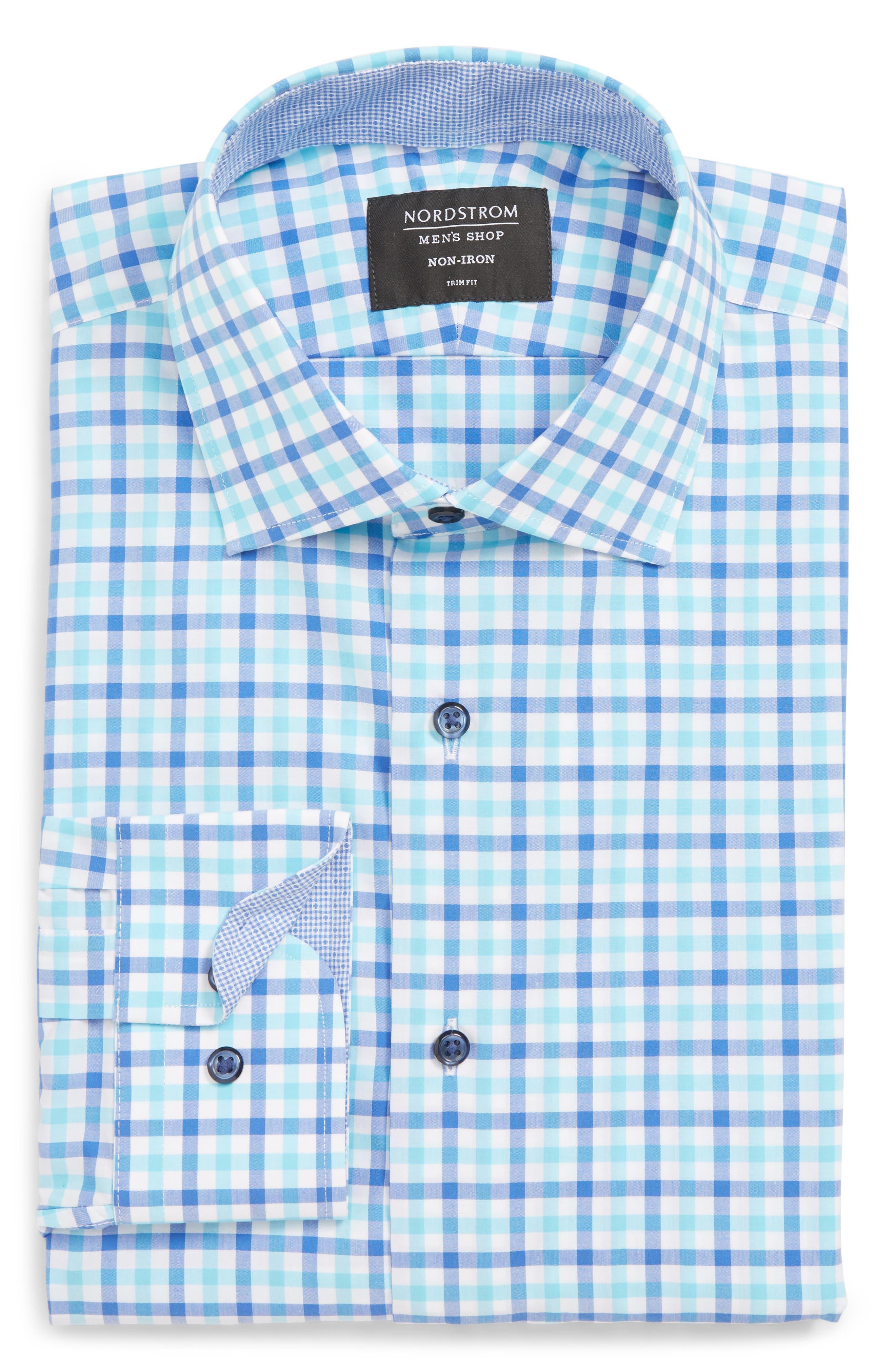 Trim Fit Non-Iron Plaid Dress Shirt, Main, color, BLUE CAMP