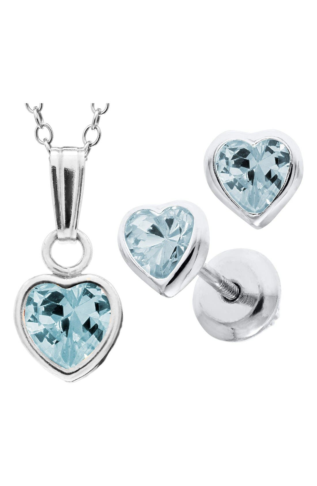 Sterling Silver & Cubic Zirconia Birthstone Necklace & Earrings Set,                             Alternate thumbnail 2, color,                             MARCH