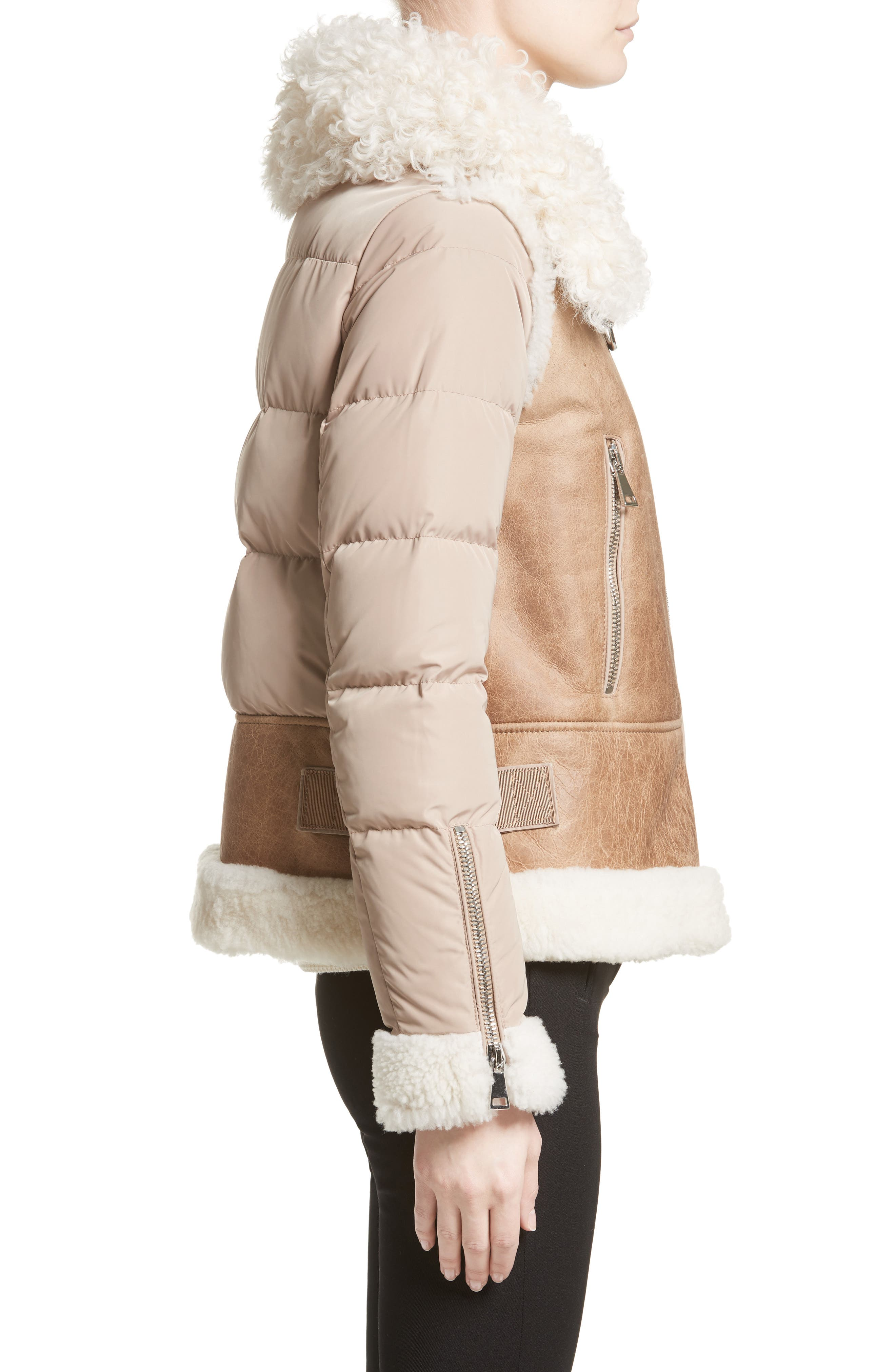 Kilia Genuine Shearling & Down Puffer Jacket,                             Alternate thumbnail 4, color,                             CAMEL
