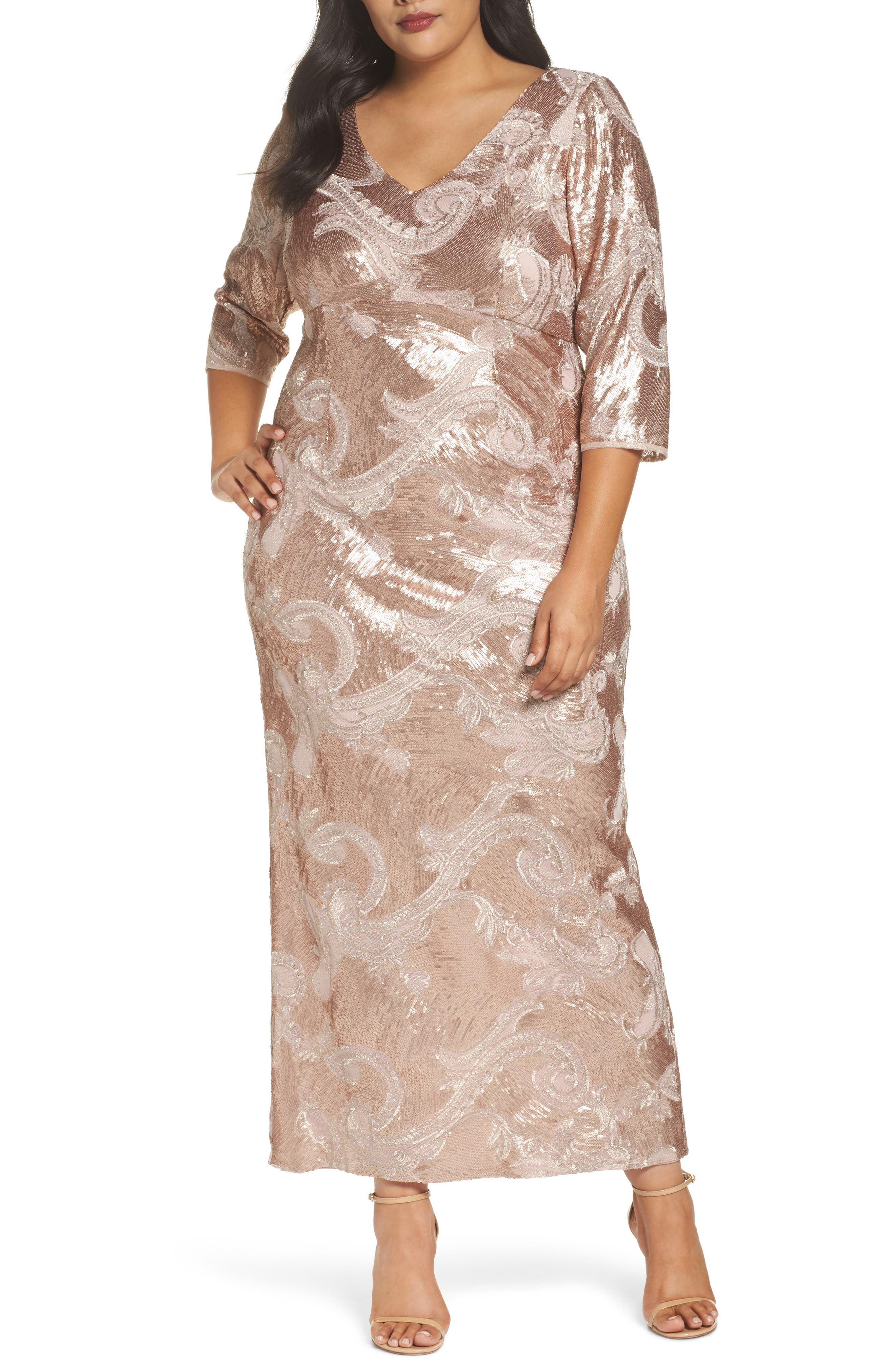 Sequin Lace Empire Gown,                             Main thumbnail 1, color,                             ROSE GOLD