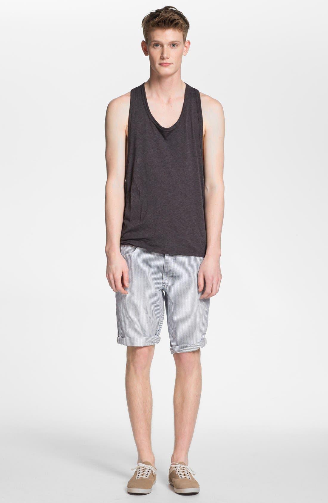 Slim Fit Stripe Denim Shorts,                             Alternate thumbnail 5, color,                             420