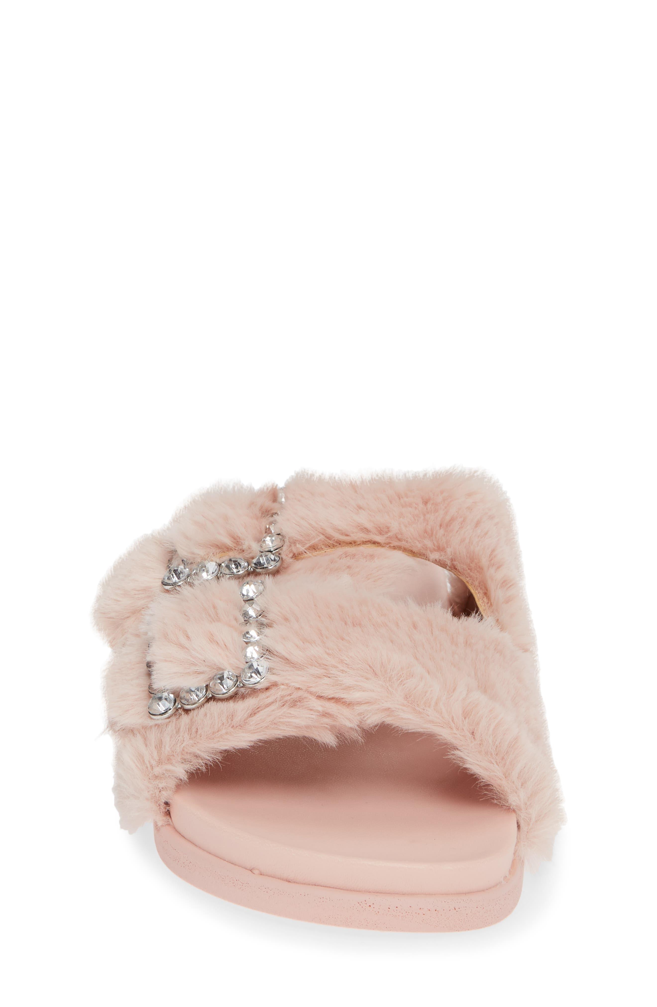 Faux Fur Slide Sandal,                             Alternate thumbnail 4, color,                             650