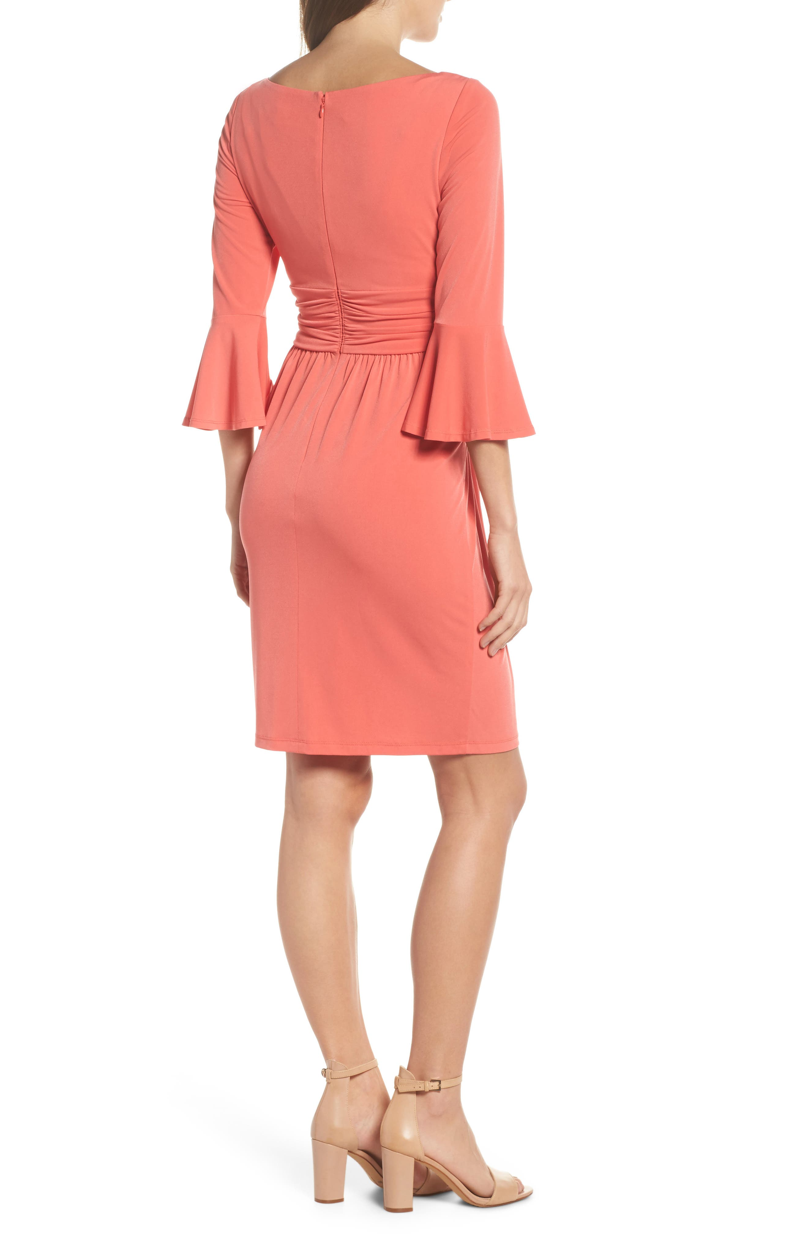 Flounce Sleeve Sheath Dress,                             Alternate thumbnail 4, color,