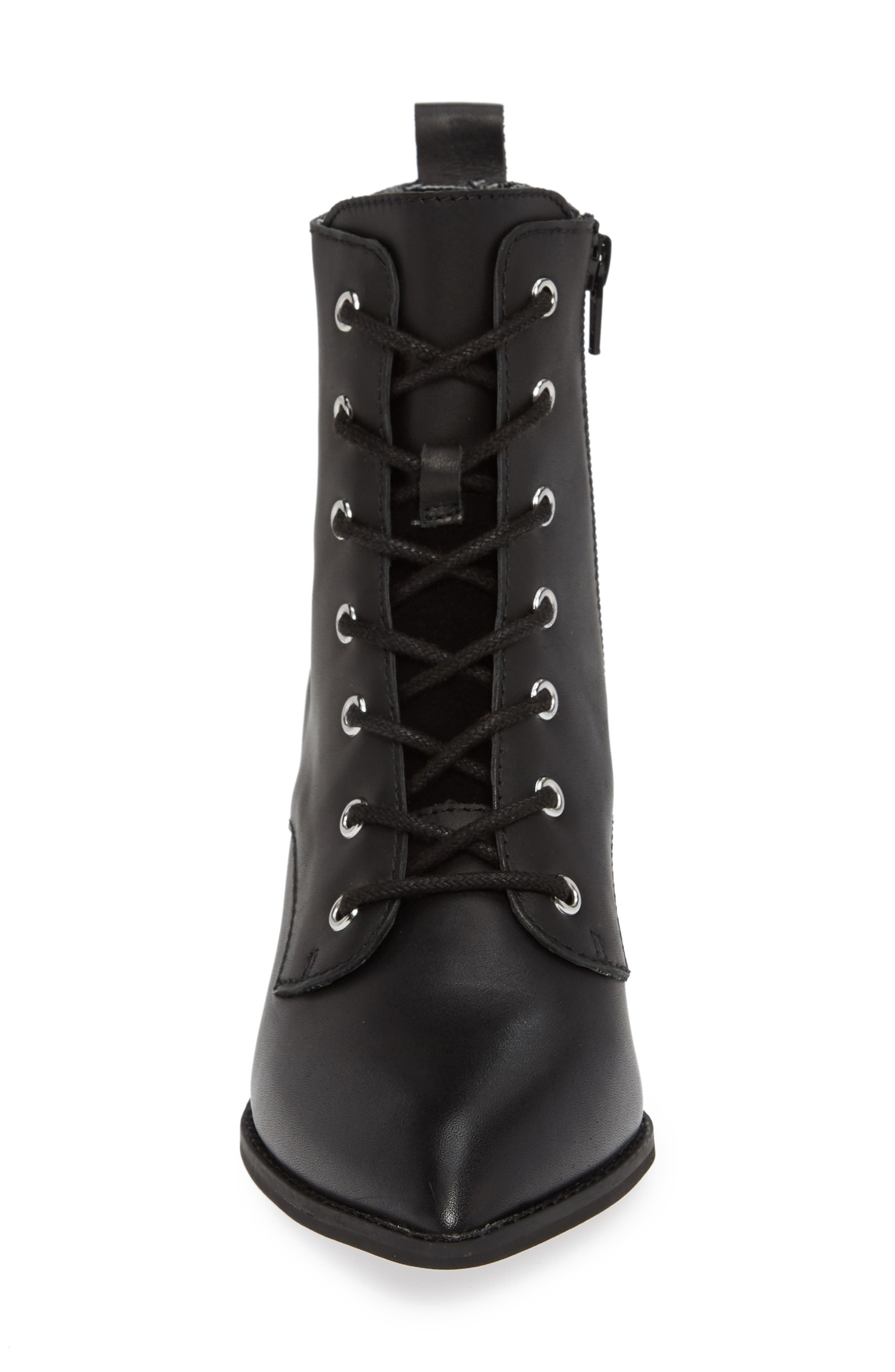 Trench Bootie,                             Alternate thumbnail 4, color,                             BLACK LEATHER