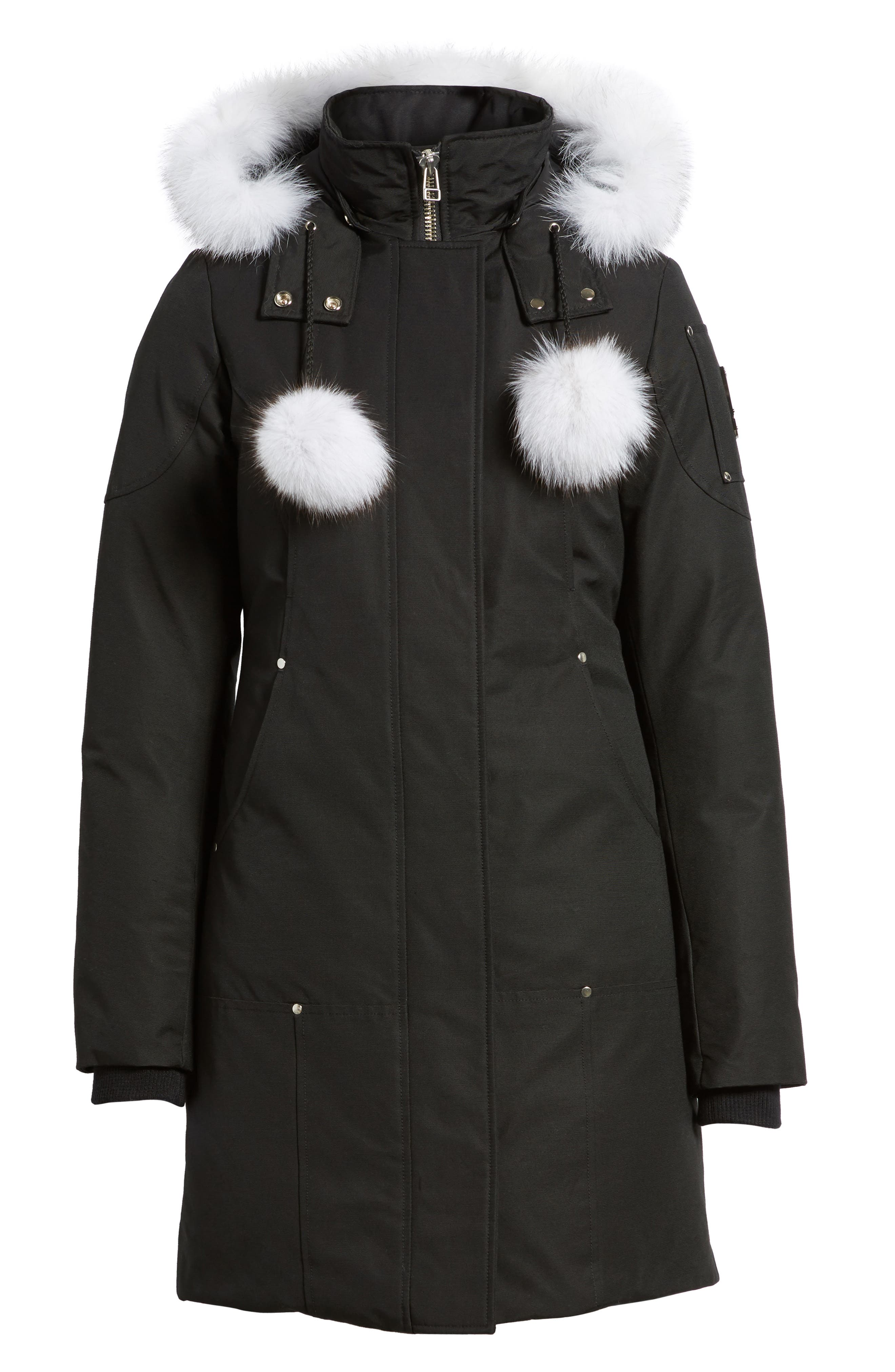 'Stirling' Down Parka with Genuine Fox Fur Trim,                             Alternate thumbnail 7, color,                             BLACK/ WHITE FUR