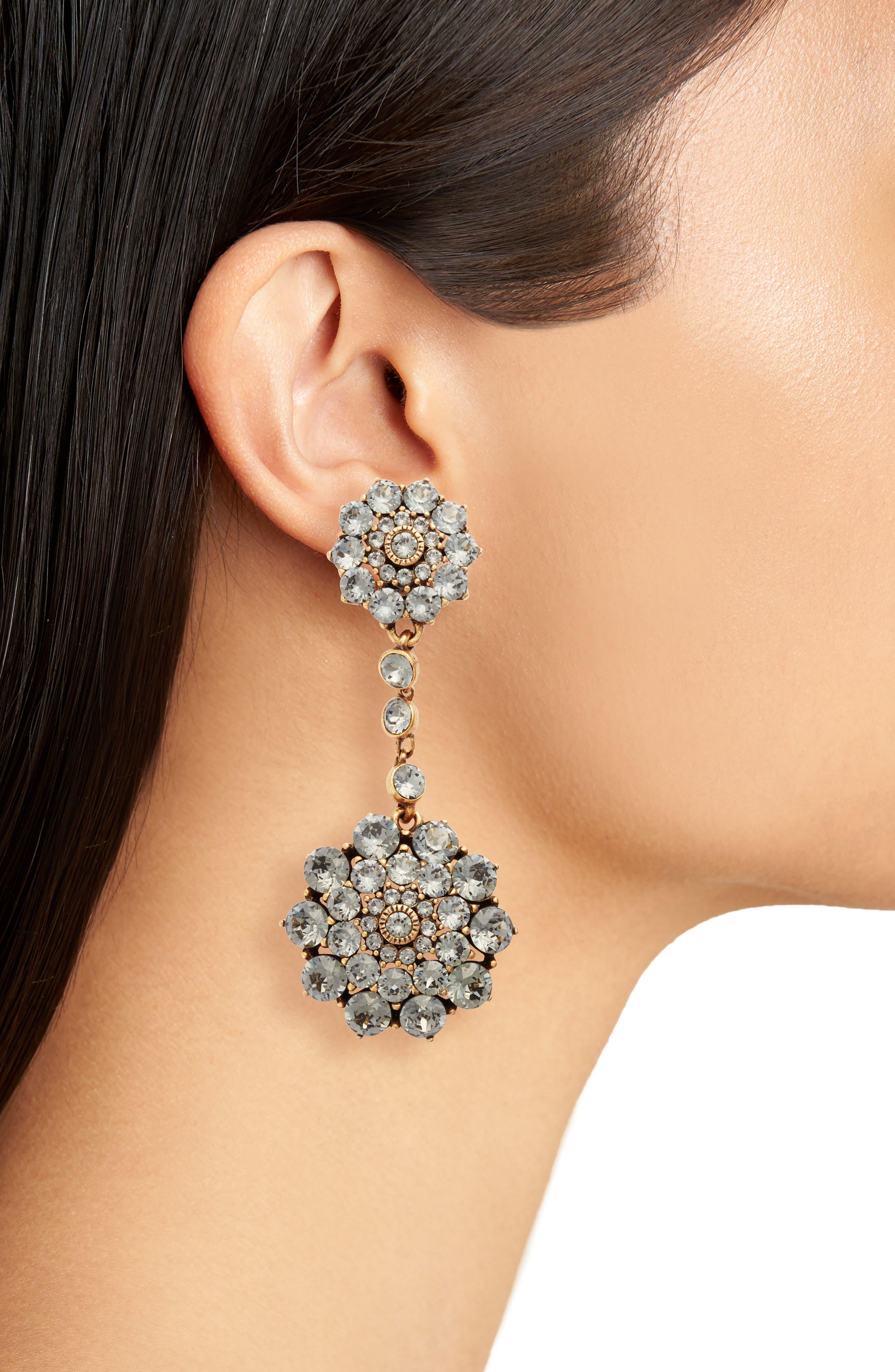 'Classic Jeweled' Swarovski Crystal Drop Earrings,                             Alternate thumbnail 3, color,                             BLACK