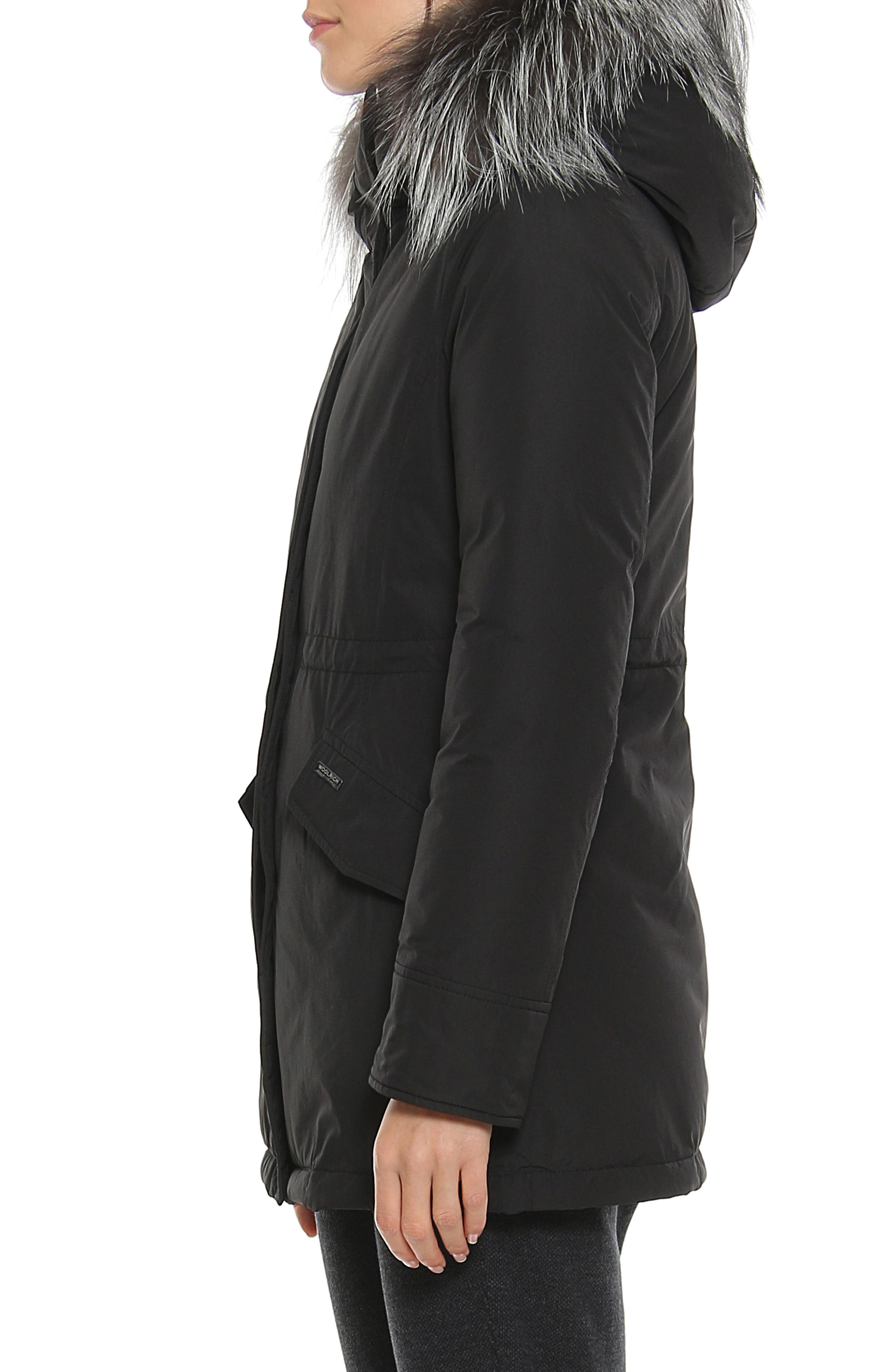 City Arctic Down Parka with Genuine Fox Fur Trim,                             Alternate thumbnail 3, color,                             BLACK