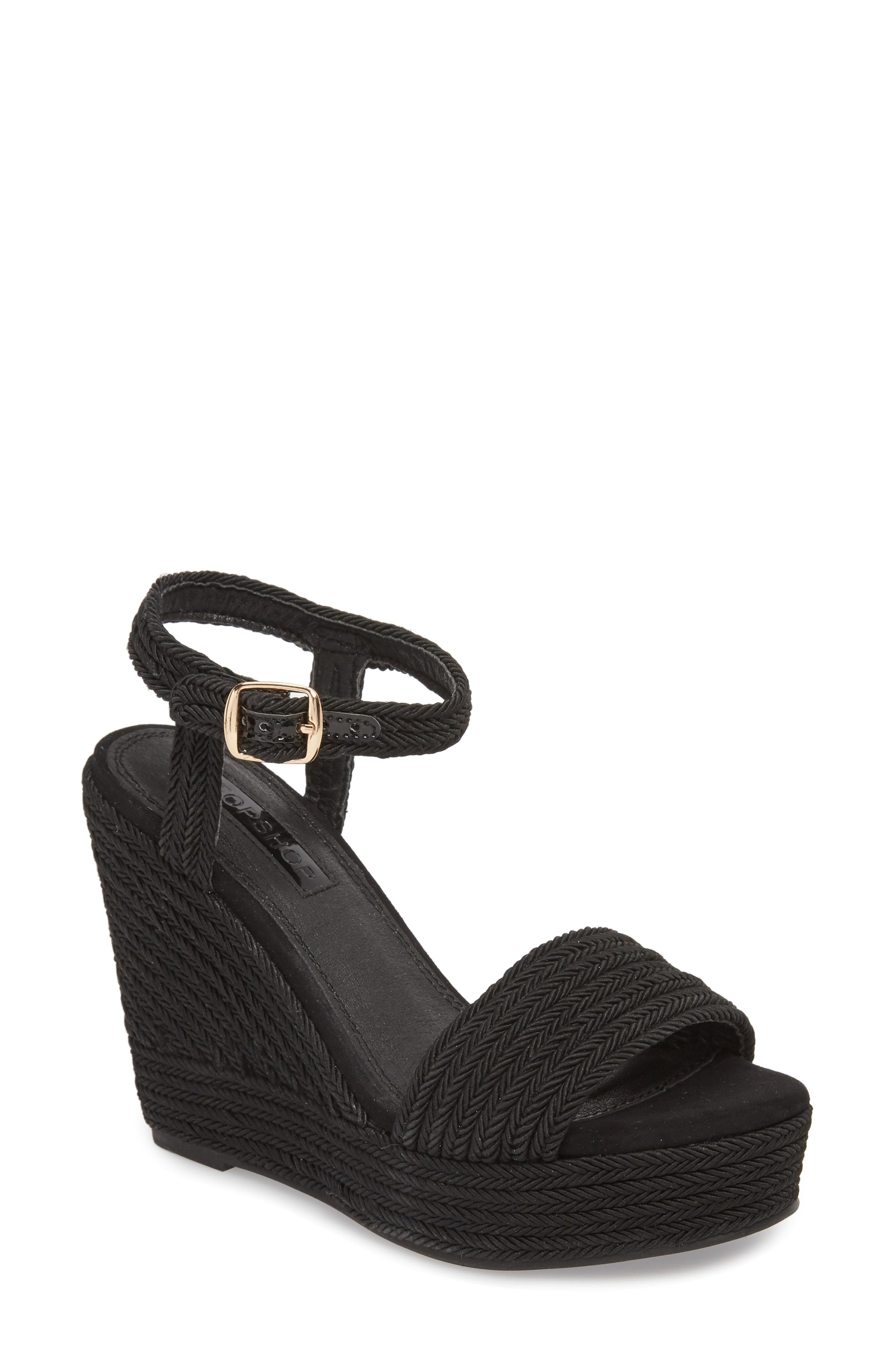 Wild Rope Platform Wedge Sandal,                         Main,                         color, BLACK MULTI