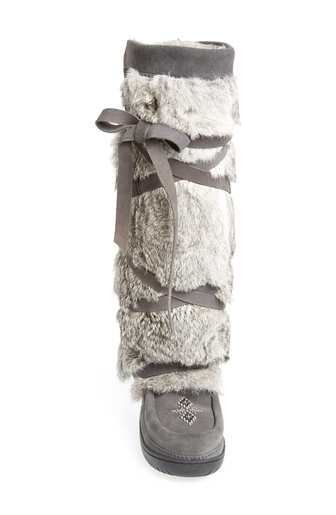 Genuine Rabbit Fur Tall Wrap Boot,                             Alternate thumbnail 3, color,                             CHARCOAL