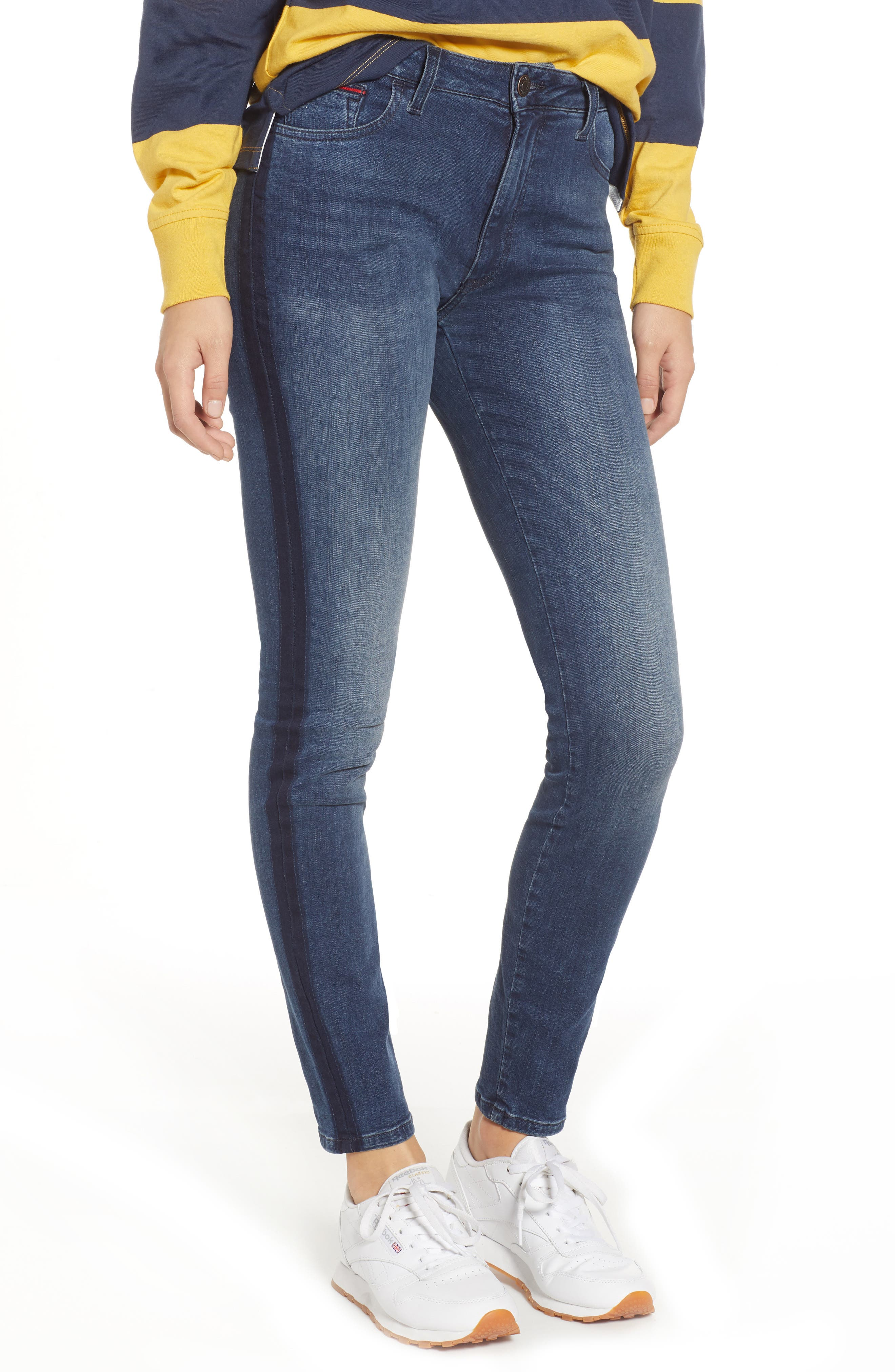 Santana High Waist Skinny Jeans,                         Main,                         color, NEDDLE DARK BLUE STRETCH