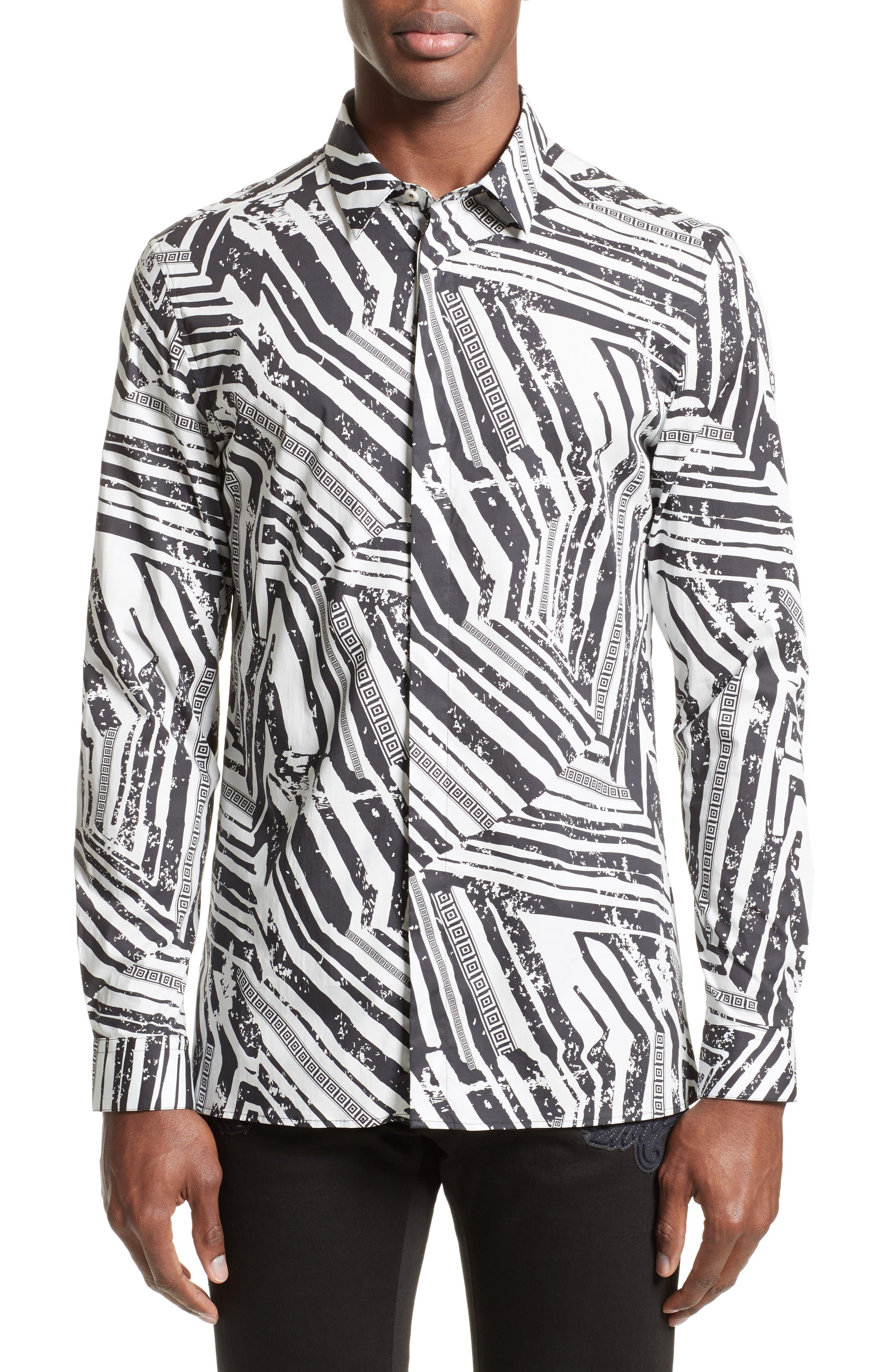 Slim Fit Allover Print Sport Shirt,                         Main,                         color, 124