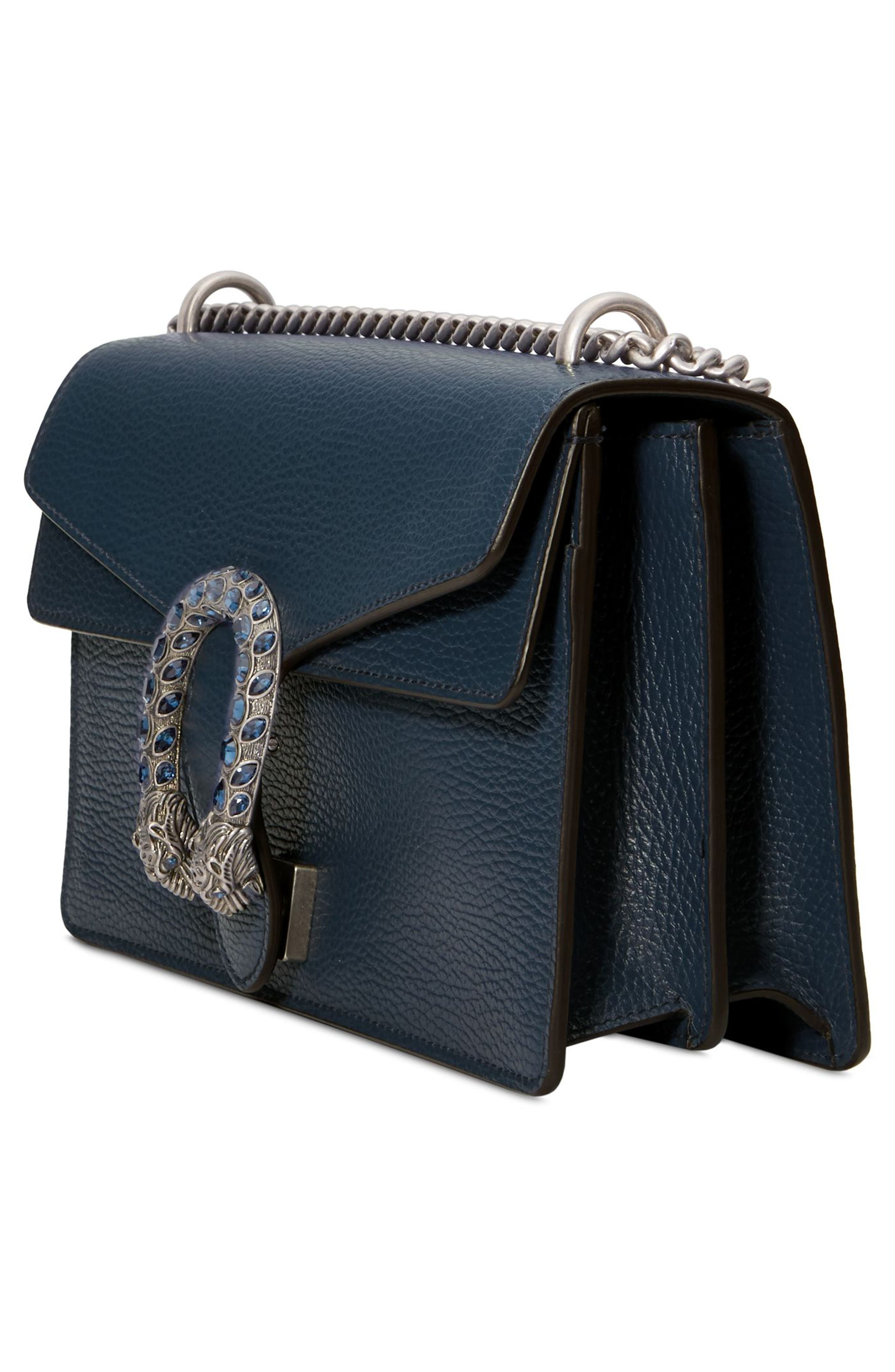 Small Dionysus Leather Shoulder Bag,                             Alternate thumbnail 4, color,                             BLU AGATA/ MONTANA